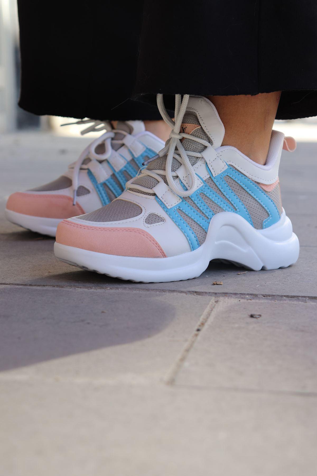Trendayakkabı - Çift Renk Kalın Taban Kadın Spor Ayakkabısı