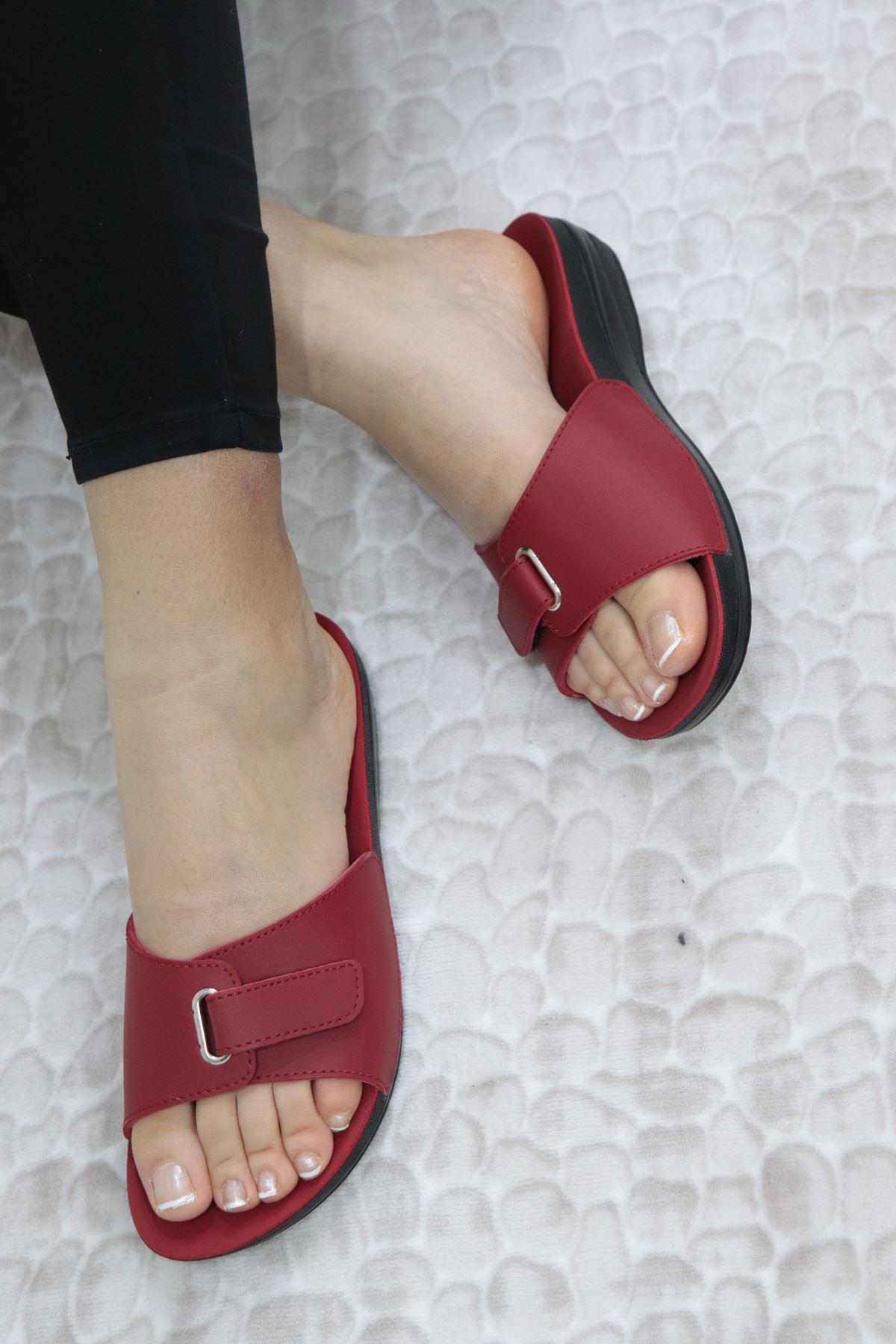 Ceyo - Marina 1 Kırmızı Ortopedik Kadın Terlik