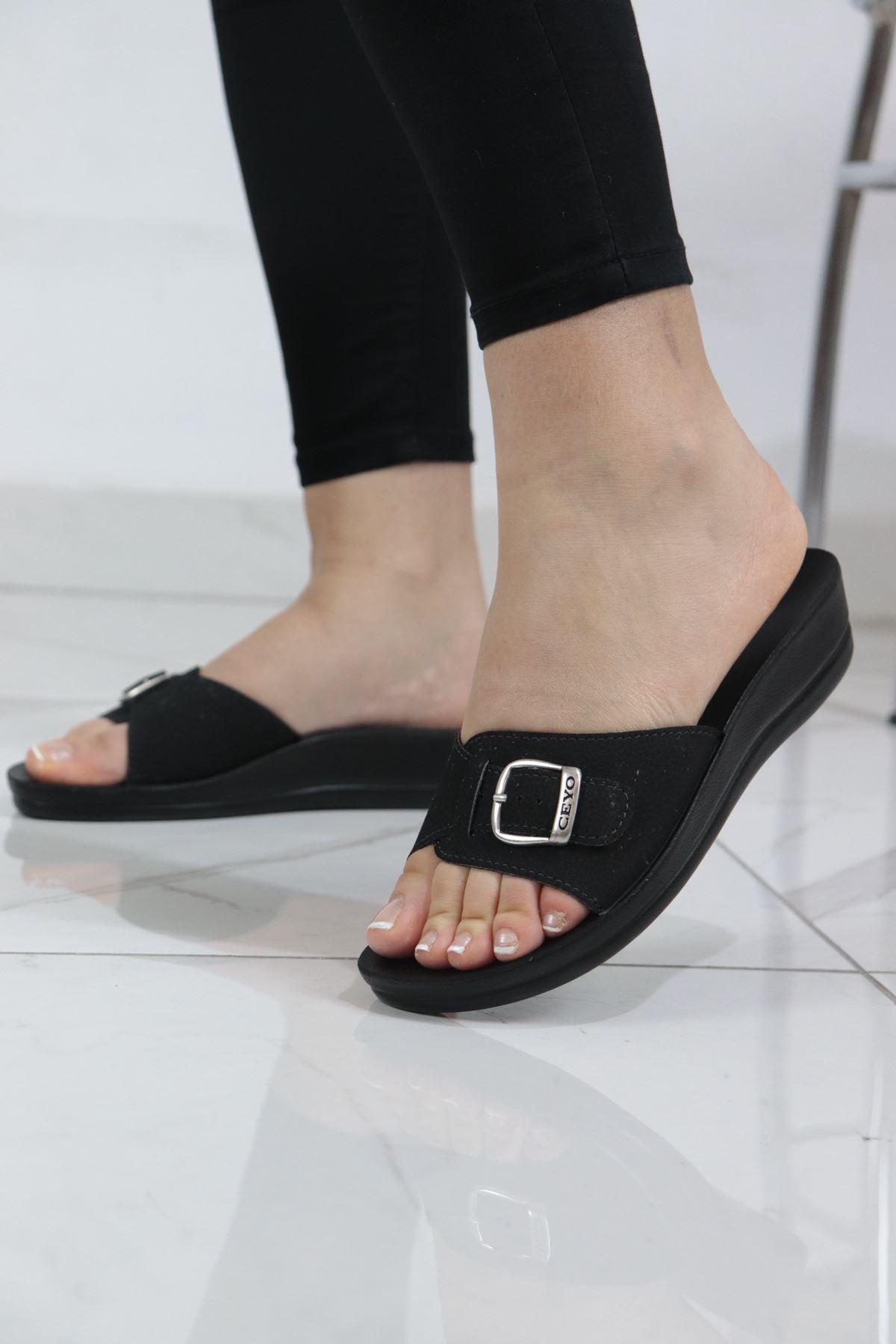 Ceyo - Minerva Tokalı Siyah Ortopedik Kadın Terlik