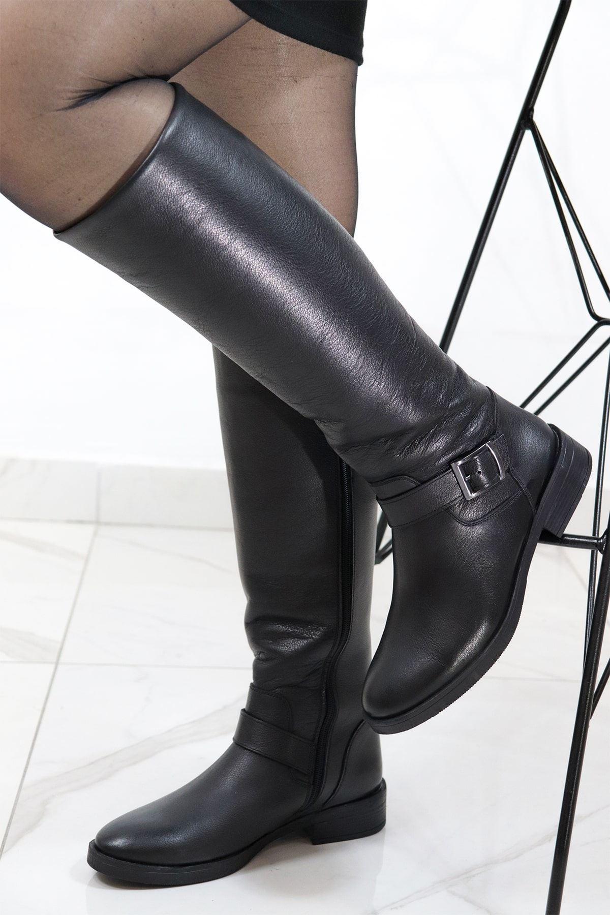 Castle Black - 21900-1 Hakiki Deri Siyah Kadın Çizme