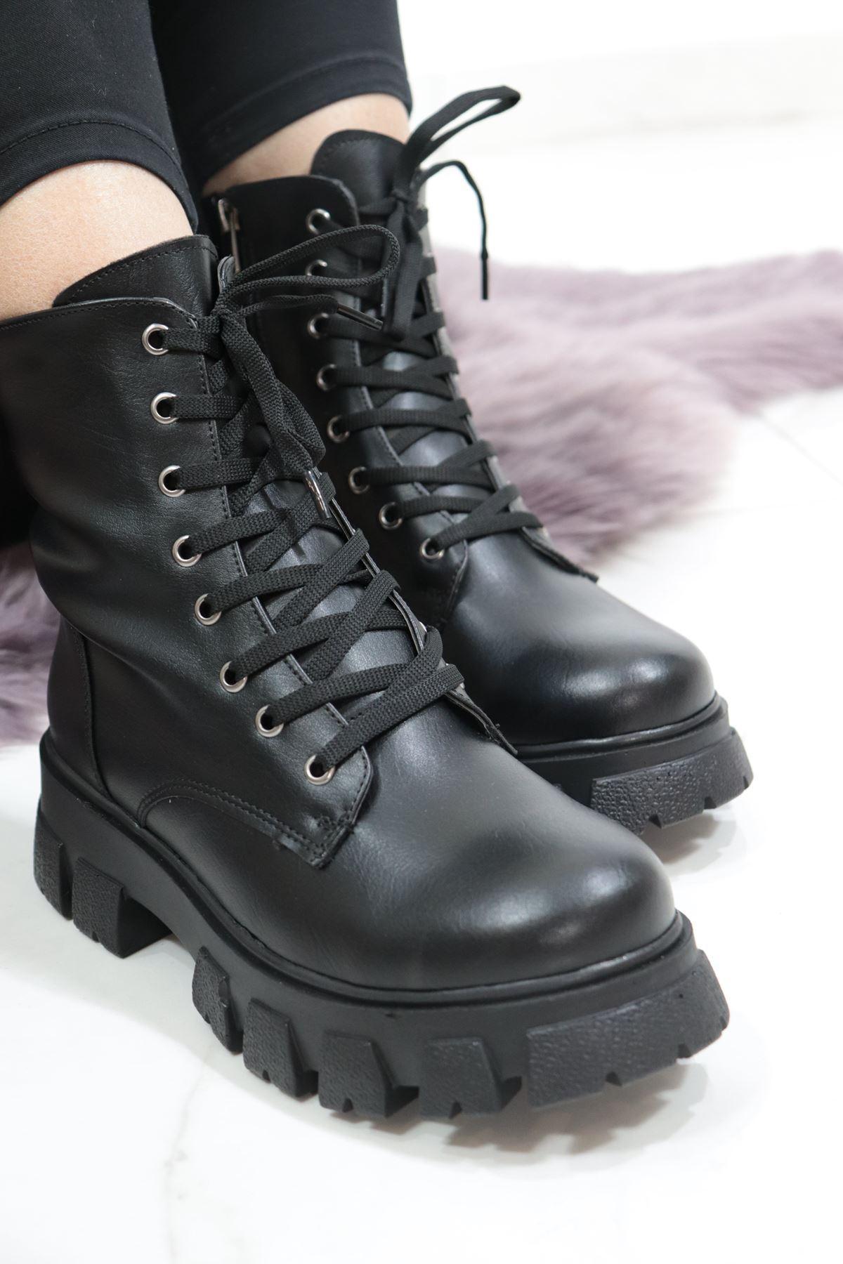 Trendayakkabı - Siyah Cilt Kalın Taban Bot