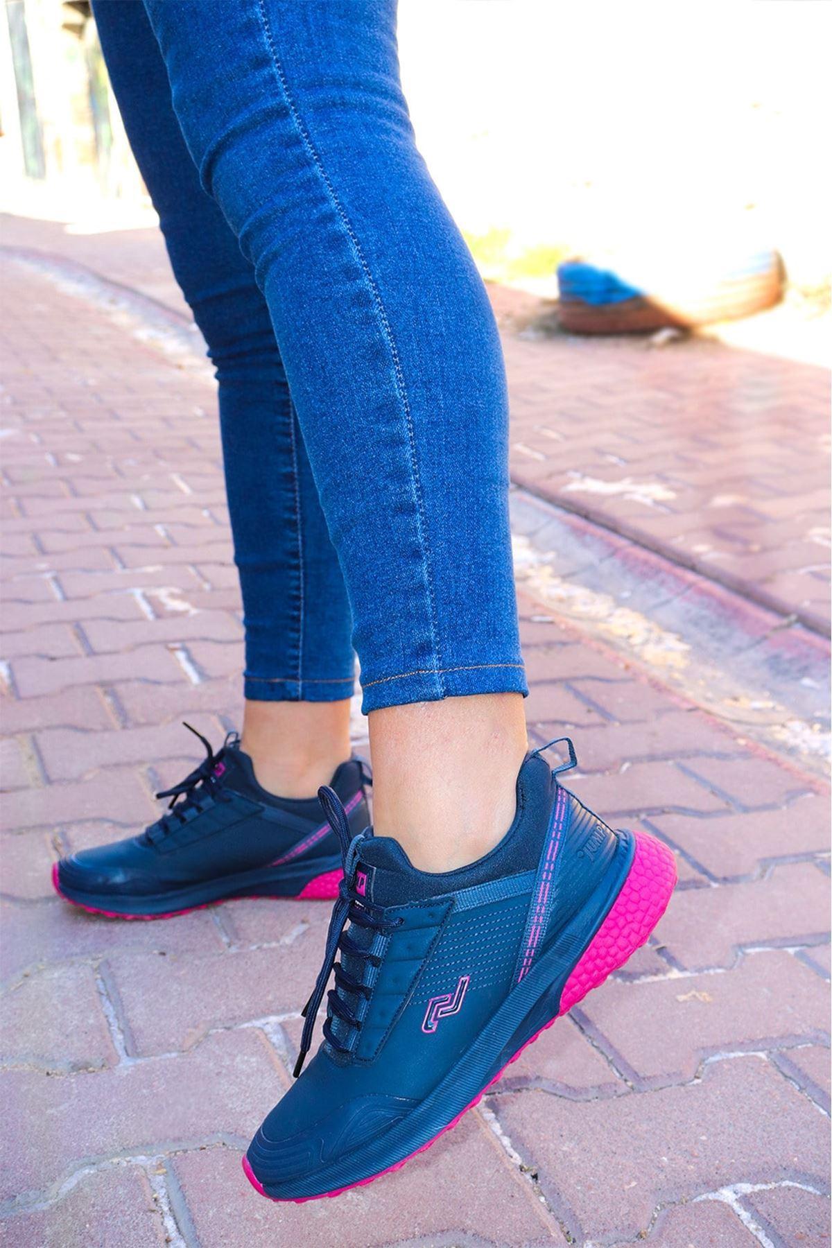 Jump - 25750 Fuşya Lacivert Kadın Spor Ayakkabı