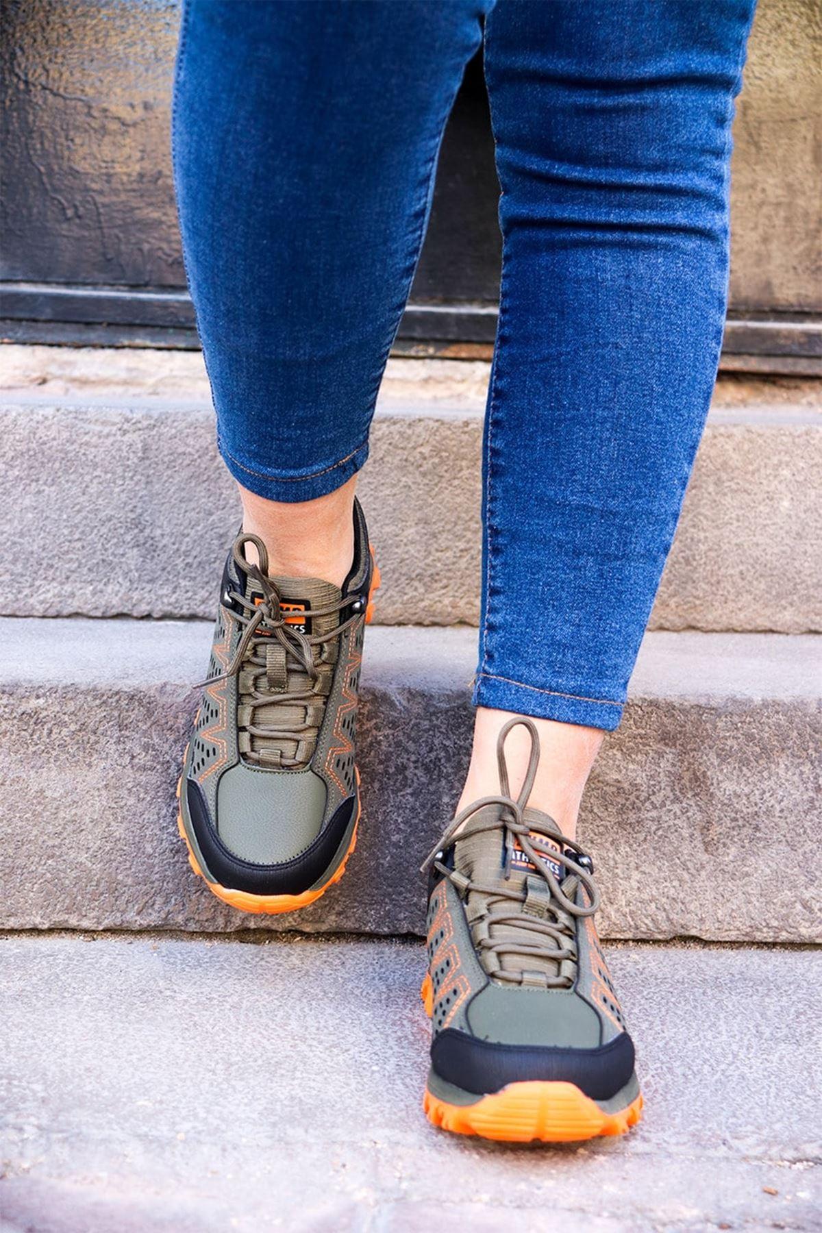 Jump - 26012 Haki Turuncu Kadın Spor Ayakkabı