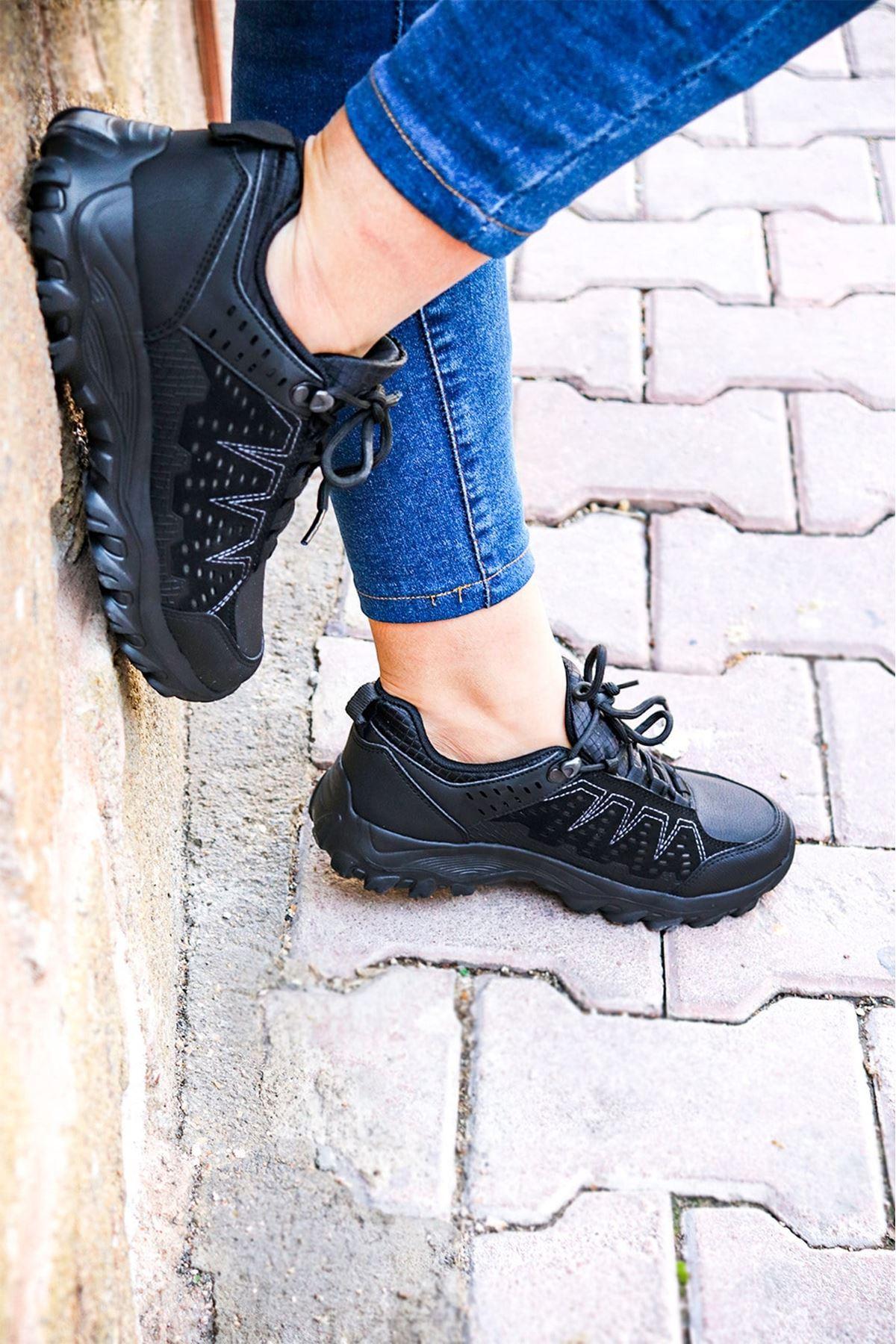 Jump - 26012 Siyah Gri Kadın Spor Ayakkabısı