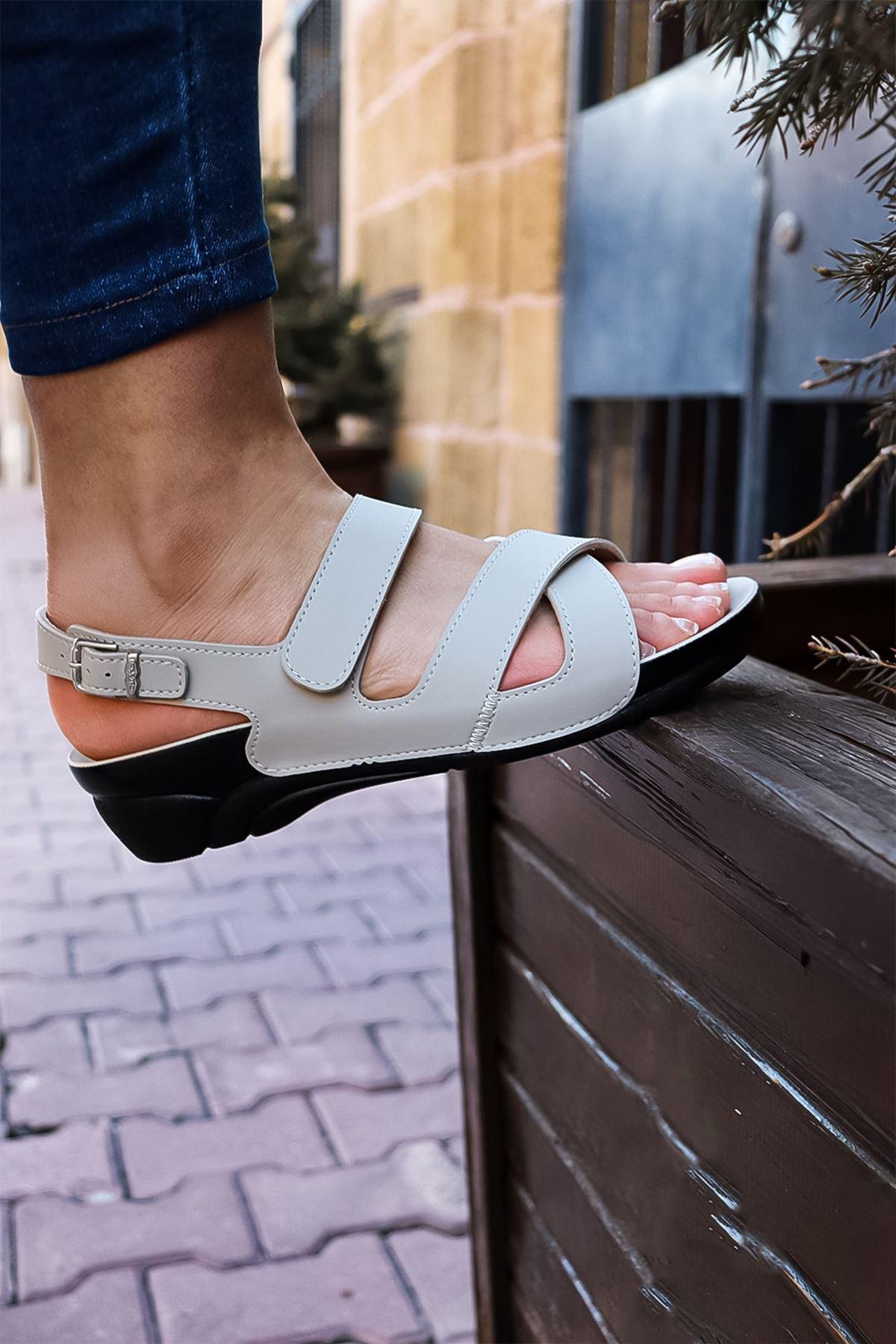 Ceyo - Venedik 8 bej Ortopedik Kadın Sandalet