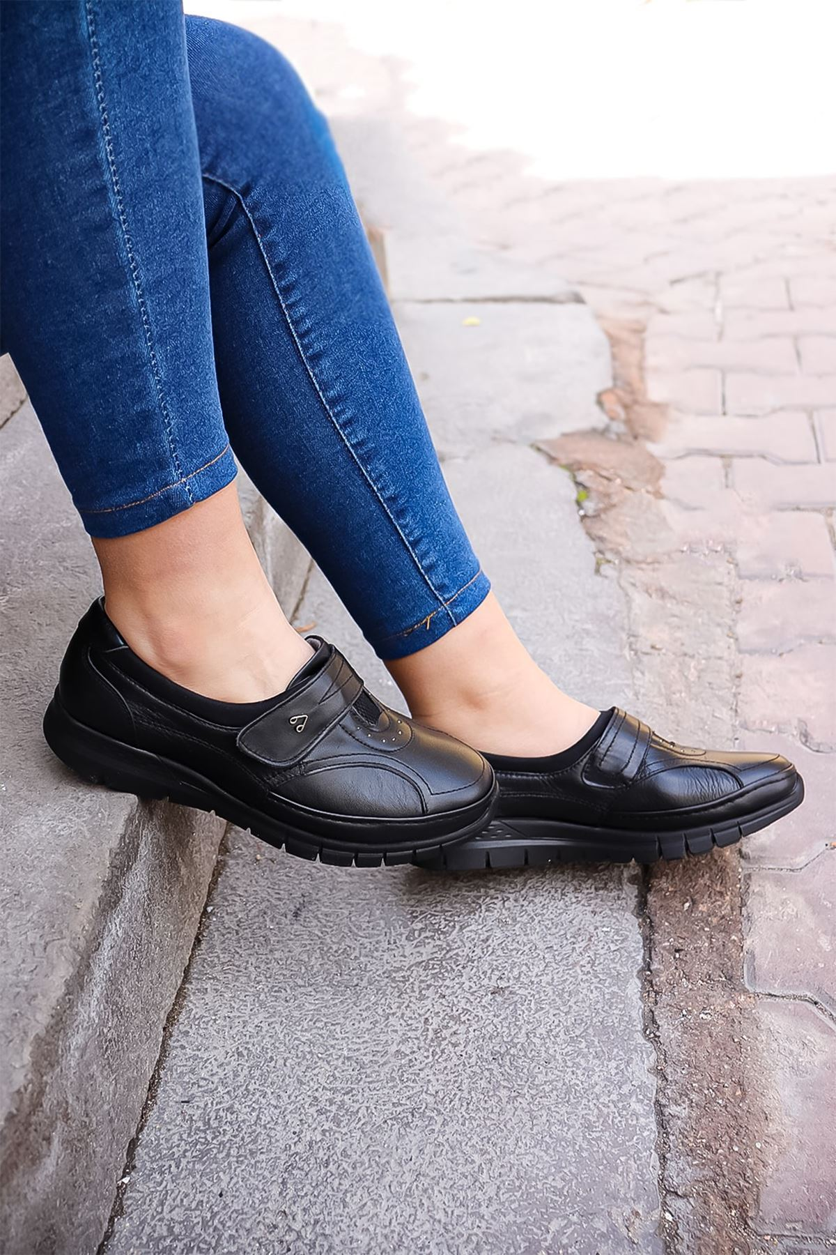 Forelli - 20445 Siyah Ortopedik Cırtlı Kadın Ayakkabısı