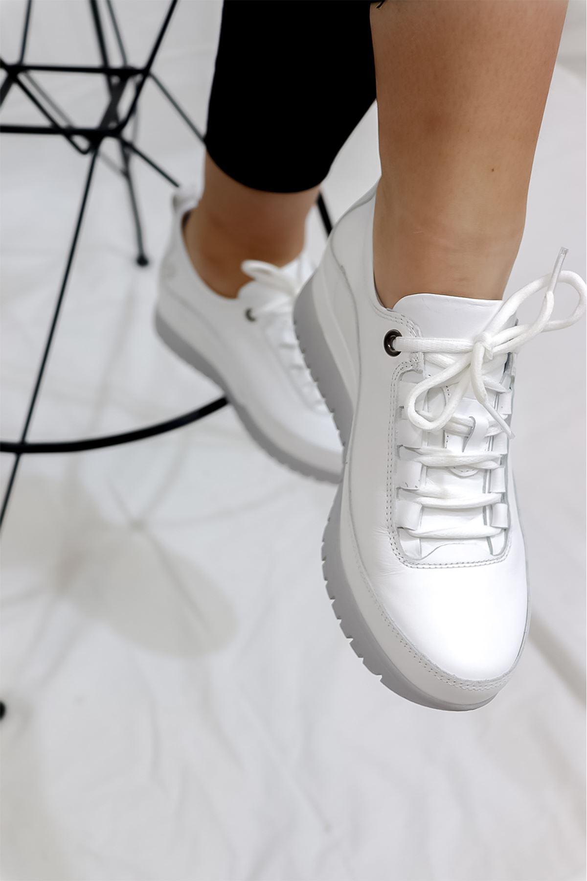 Mammamia - D21YA - 3255-B Beyaz Kadın Ayakkabısı