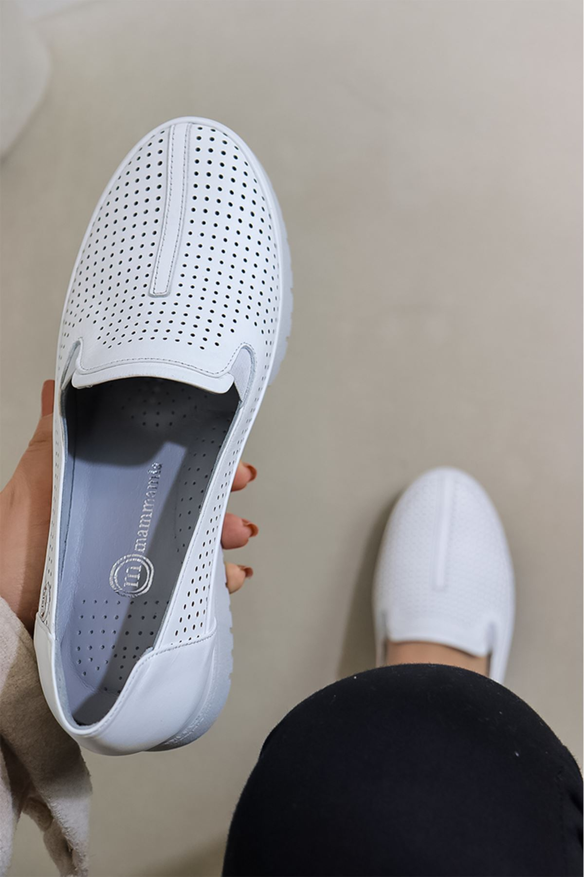 Mammamia - D21YA - 3250-B Beyaz Kadın Ayakkabısı