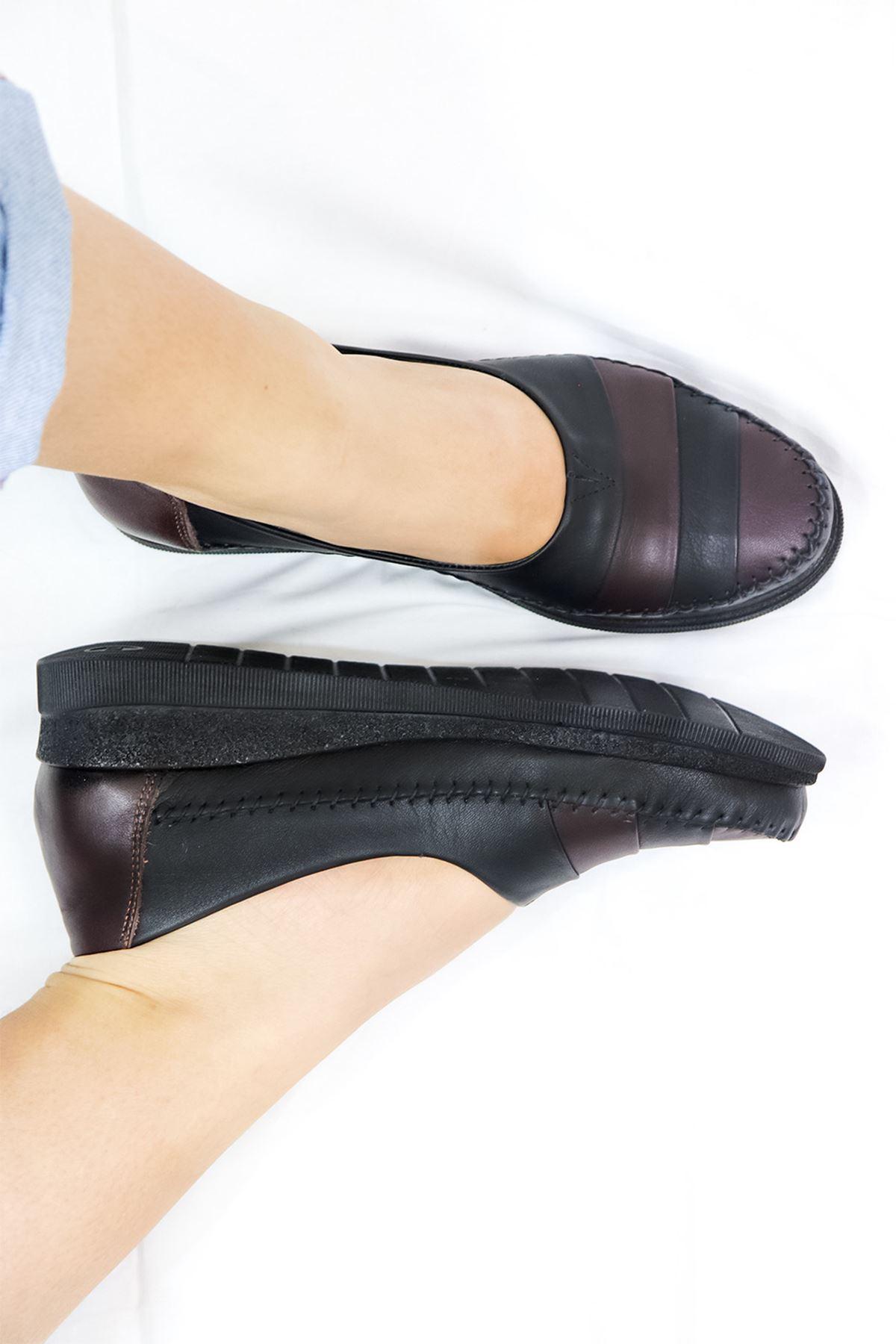 Mammamia - D21YA - 3340-B Siyah Kahve Kadın Ayakkabısı