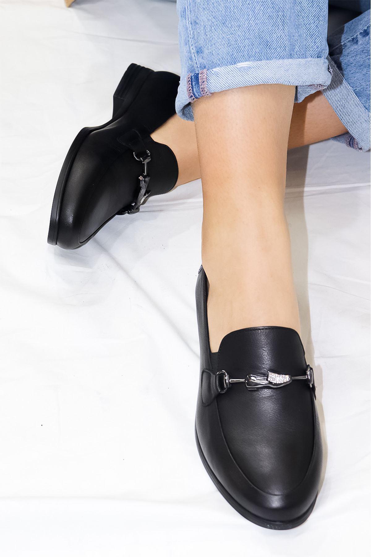 Mammamia - D21YA - 985-B Siyah Babet Kadın Ayakkabısı