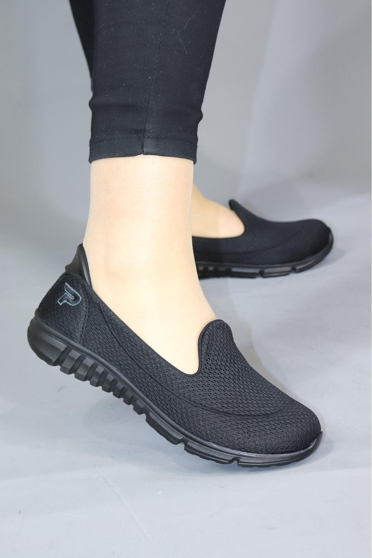 Trendayakkabı - Siyah Fileli Ortopedik Kadın Ayakkabısı