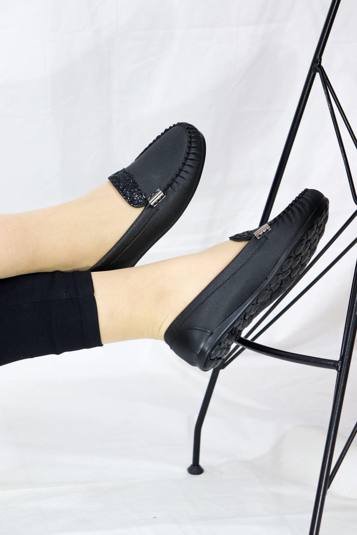 Trendayakkabı - Siyah Taşlı Babet
