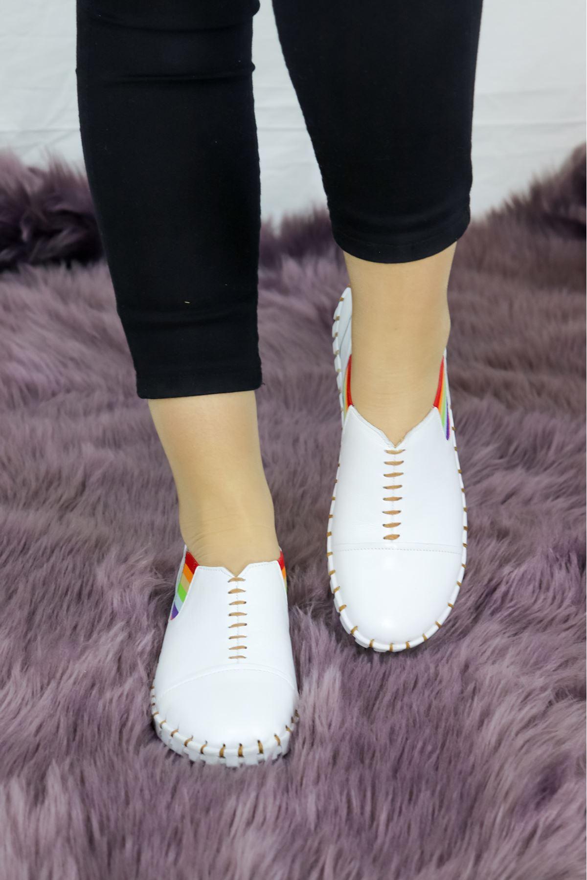 Venüs - 20107034 Beyaz Lastikli Kadın Ayakkabısı