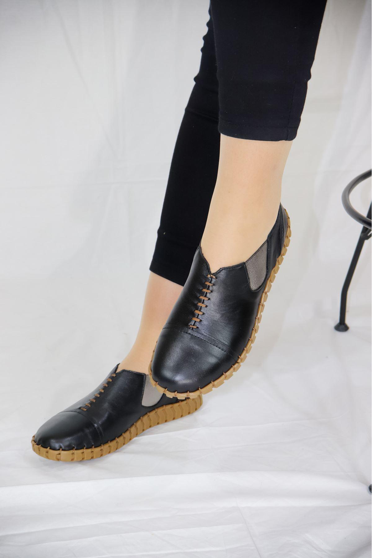 Venüs - 20107034 Siyah Lastikli Kadın Ayakkabısı