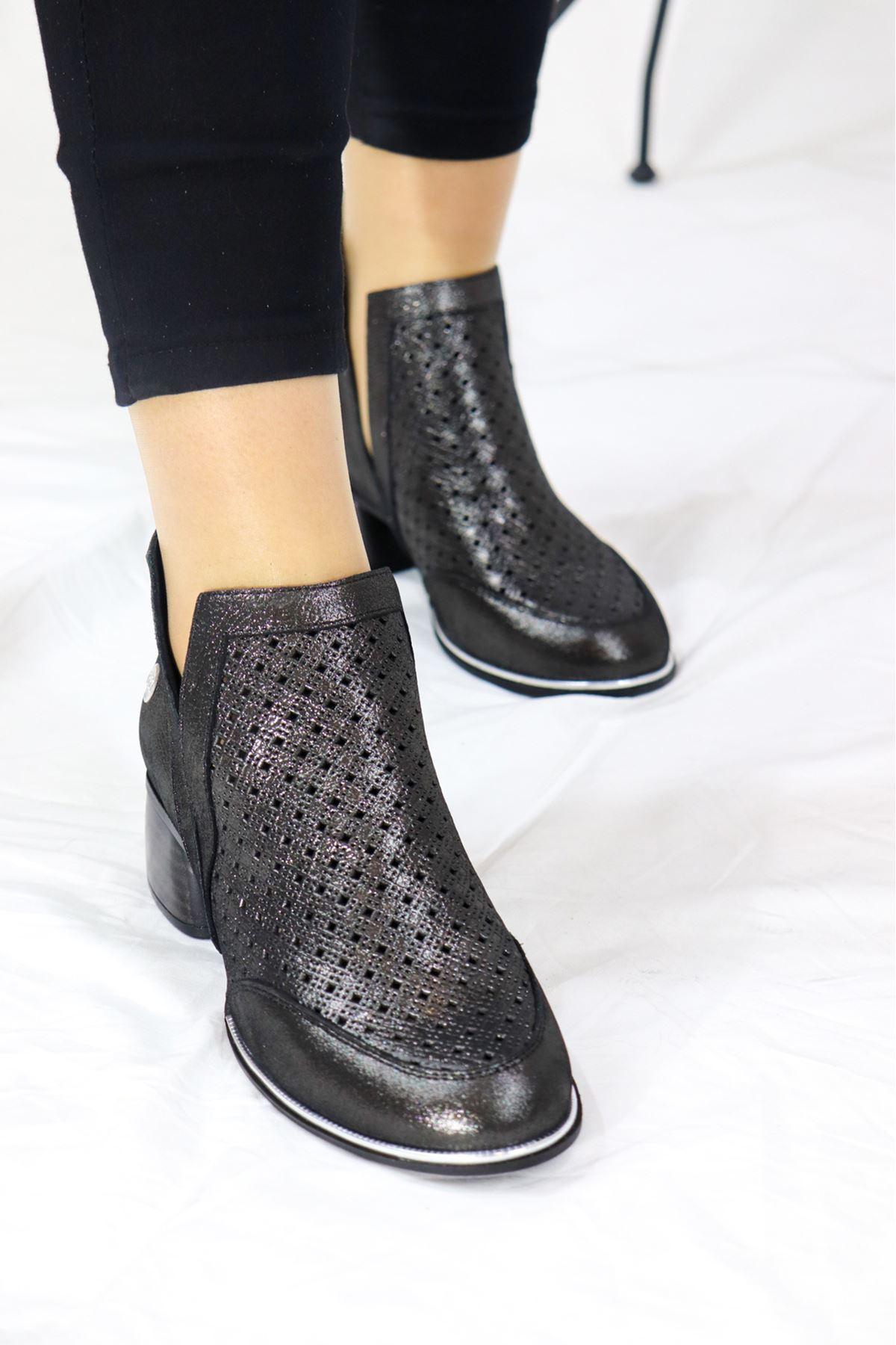 Mammamia - D21YA - 3040-B Çelik Simli Kadın Topuklu Ayakkabı