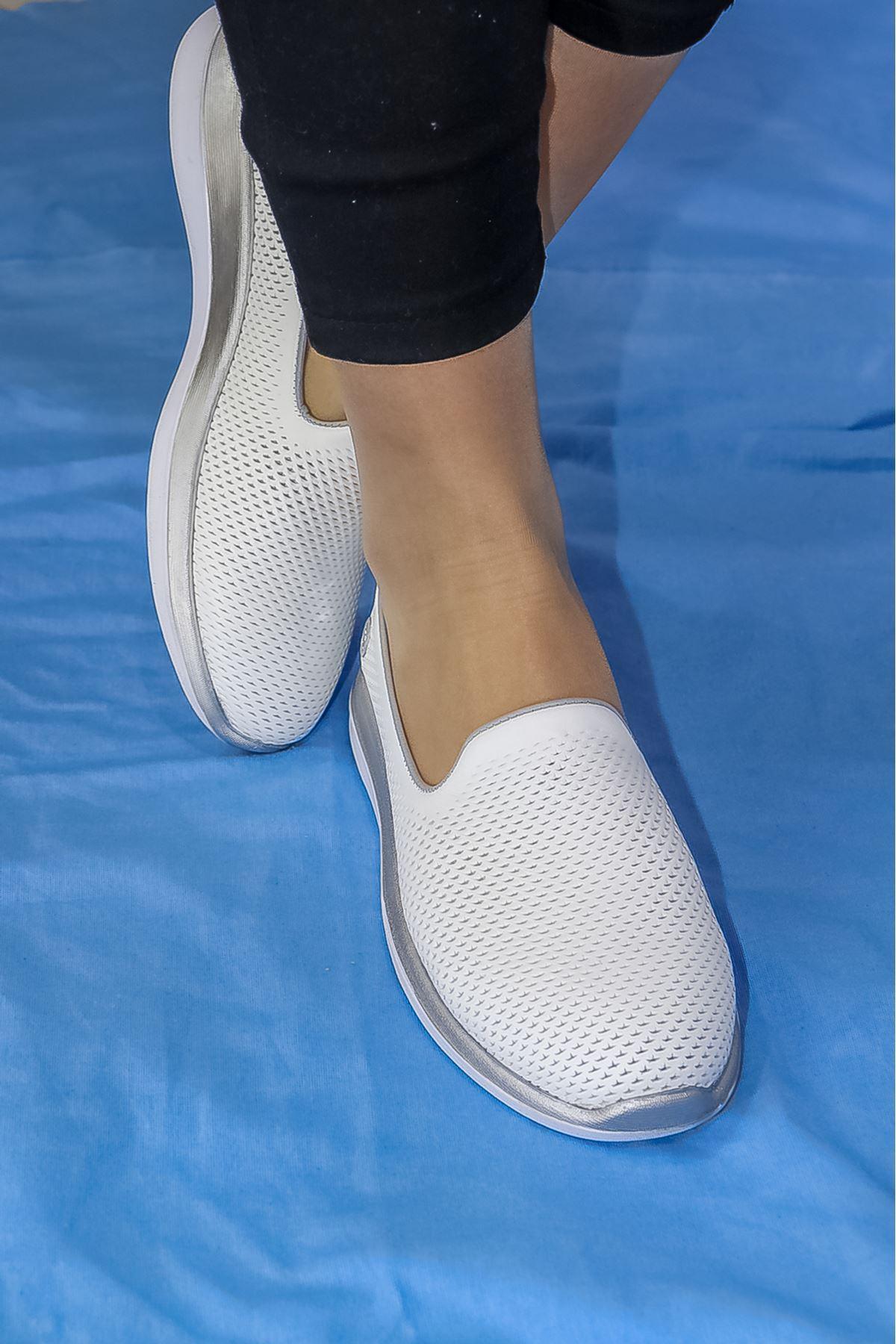 Mammamia - D21YA - 305-B Beyaz Ortopedik Kadın Ayakkabısı