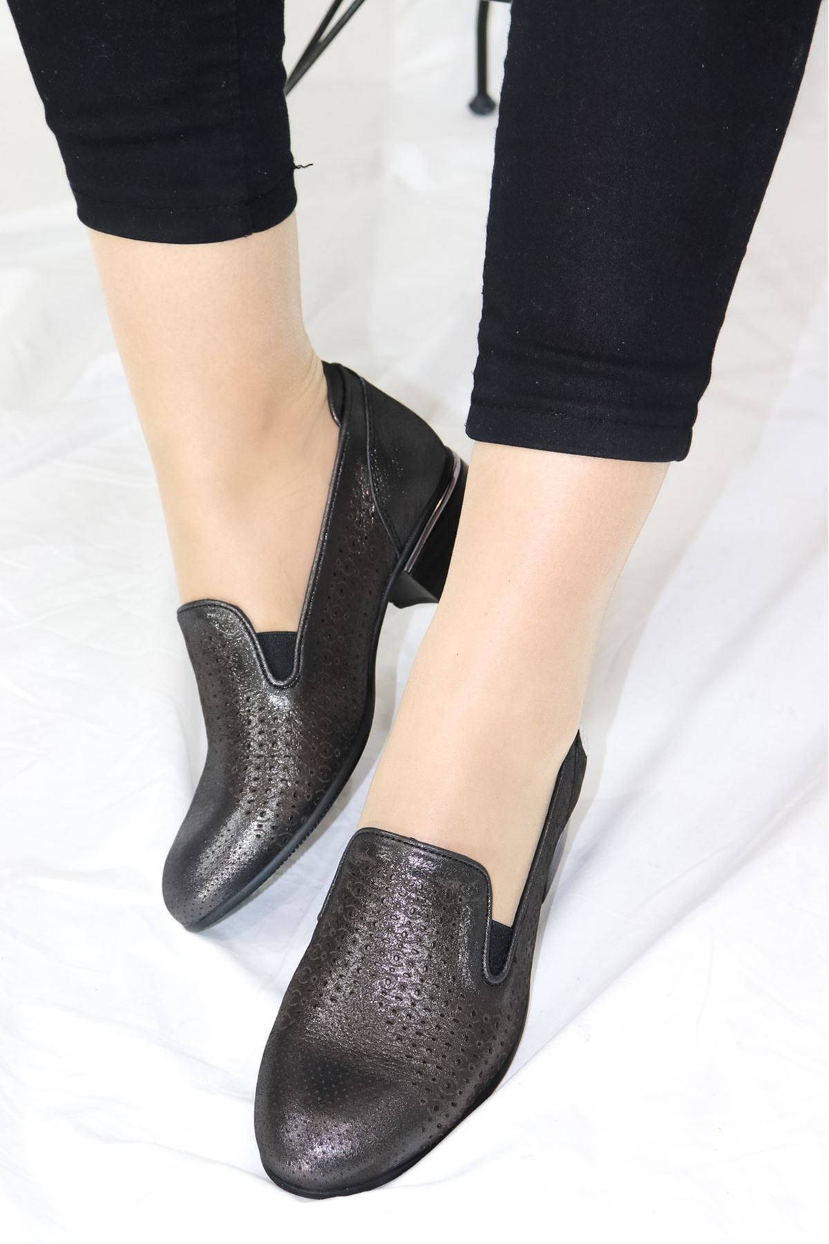 Mammamia - D21YA - 3010-B Çelik Simli Kadın Ayakkabısı