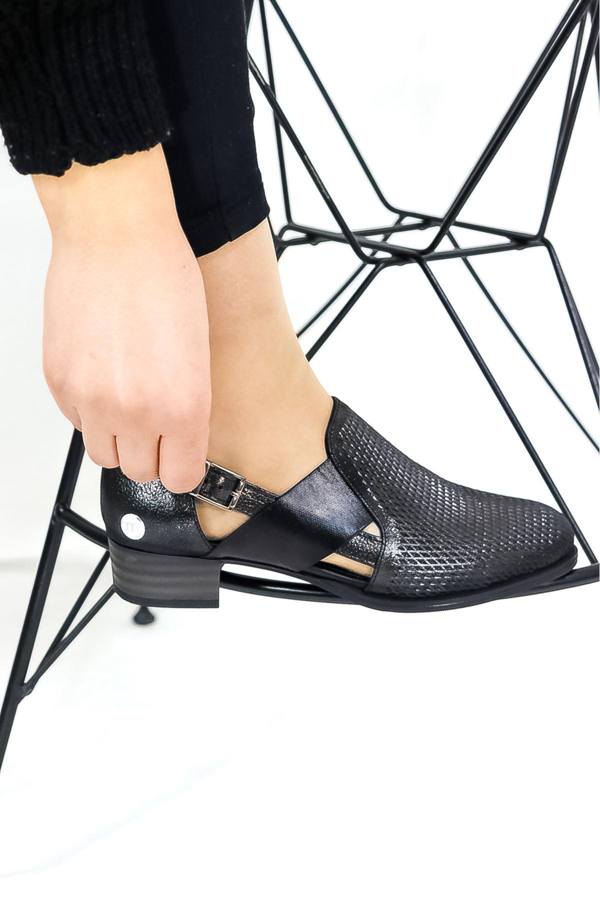 Mammamia - D21YA  - 445 Çelik Simli Kadın Ayakkabısı
