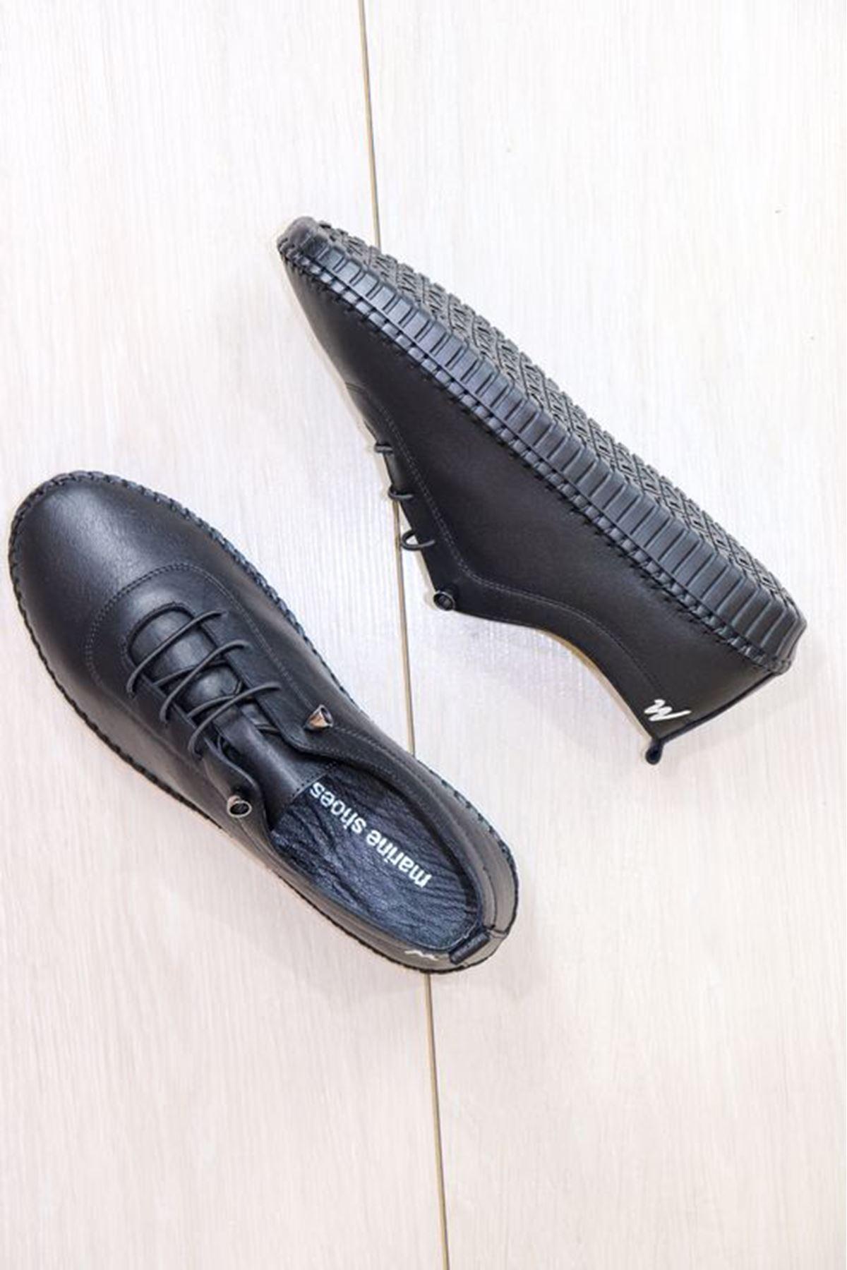 Marine Shoes - 21Y - 094 - 296 Siyah Hakiki Deri Kadın Ayakkabısı