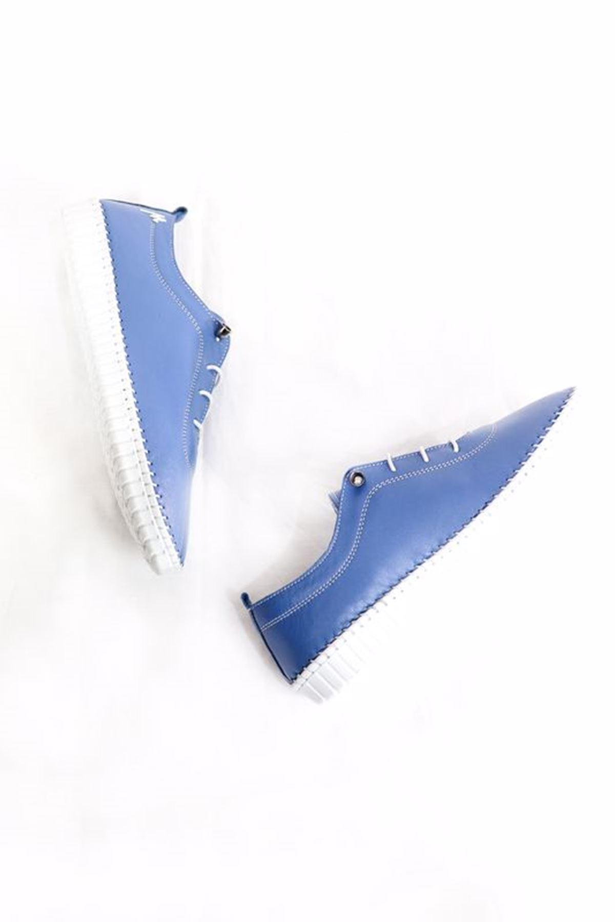 Marine Shoes - 21Y - 094 - 296 Mavi Hakiki Deri Kadın Ayakkabısı
