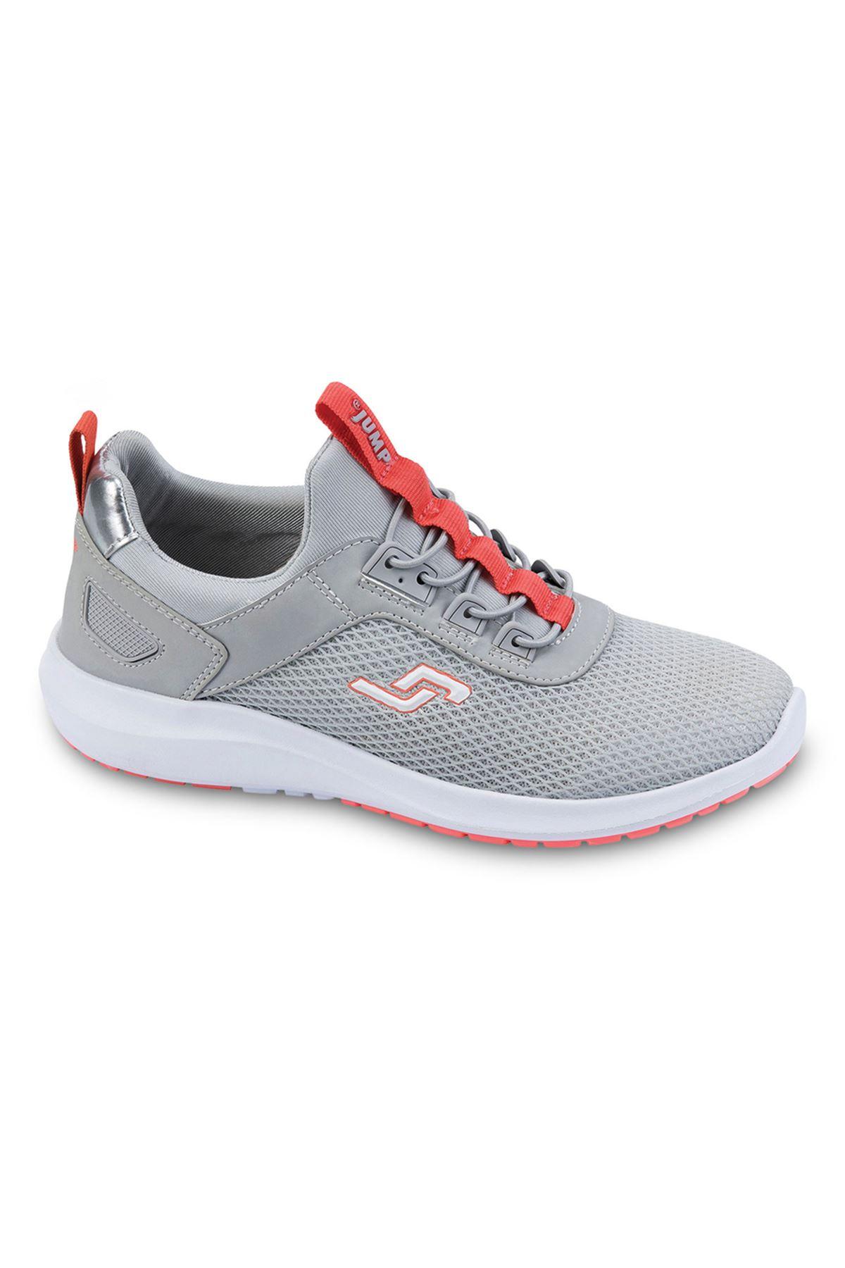 Jump - 24816 Gri Turuncu Detaylı Kadın Spor Ayakkabısı