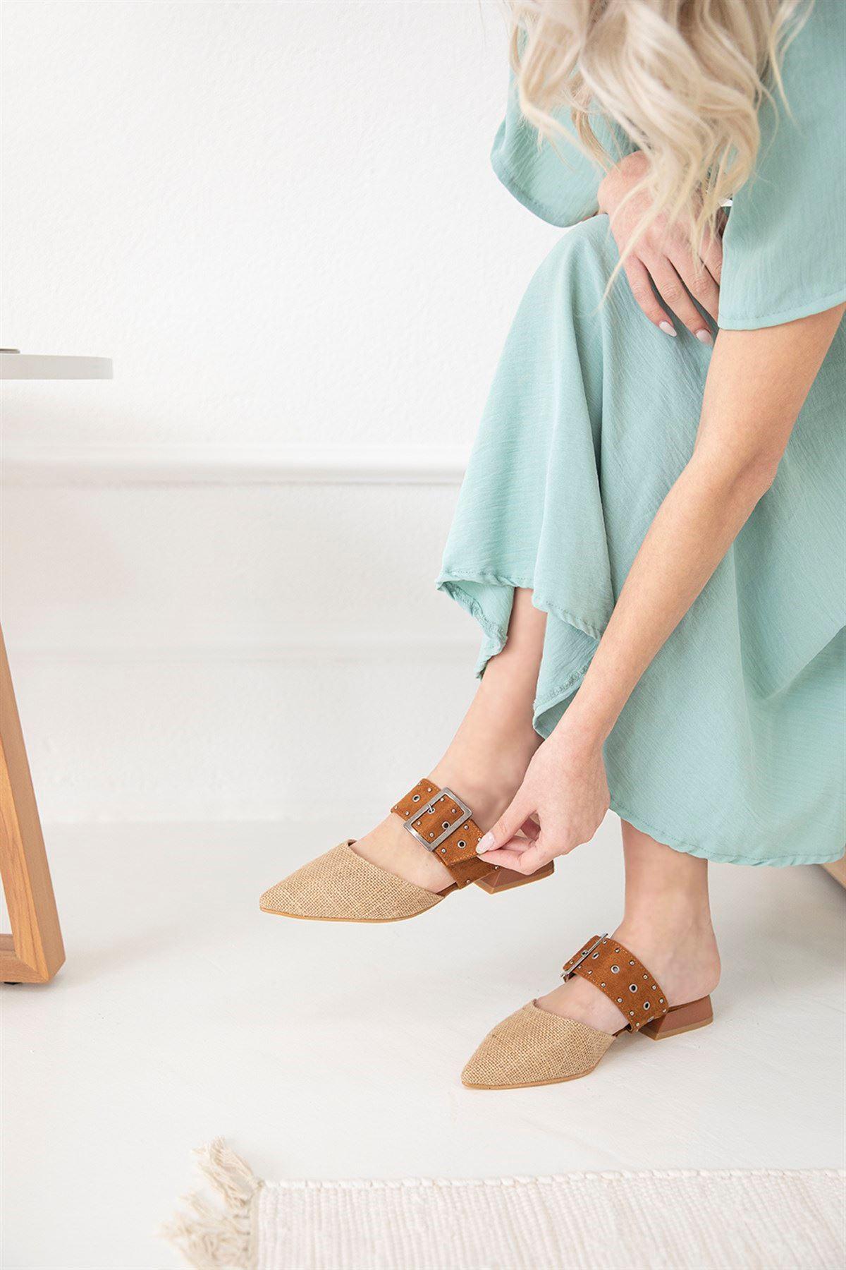 Trendayakkabı -  Kadın Hasır Detay Topuklu Sandalet Hasır-Taba