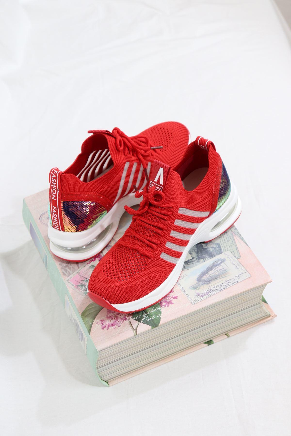 Guja - 21Y301-8 Kırmızı Air Taban Triko Kadın Sneakers