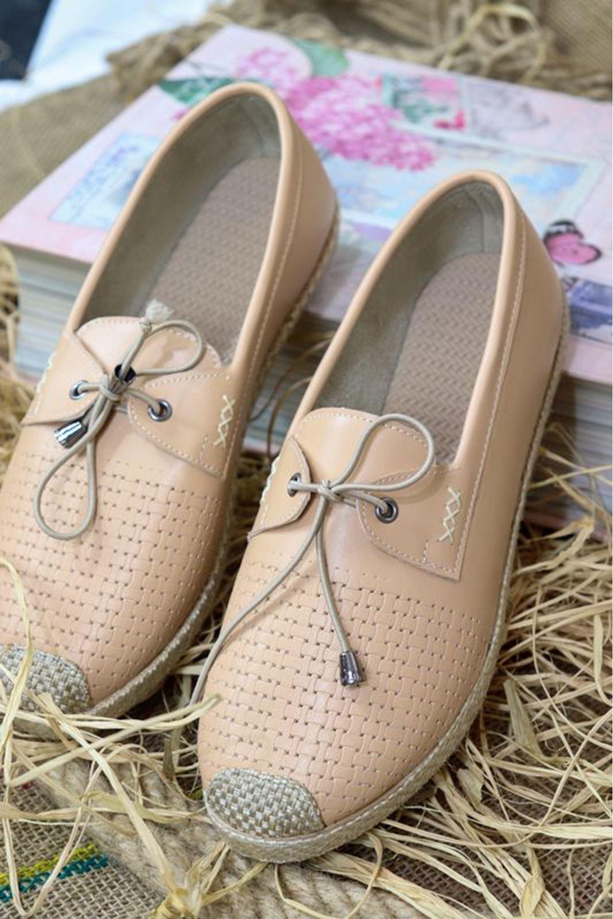 Trendayakkabı - Pudra Hasır Taban kadın ayakkabısı