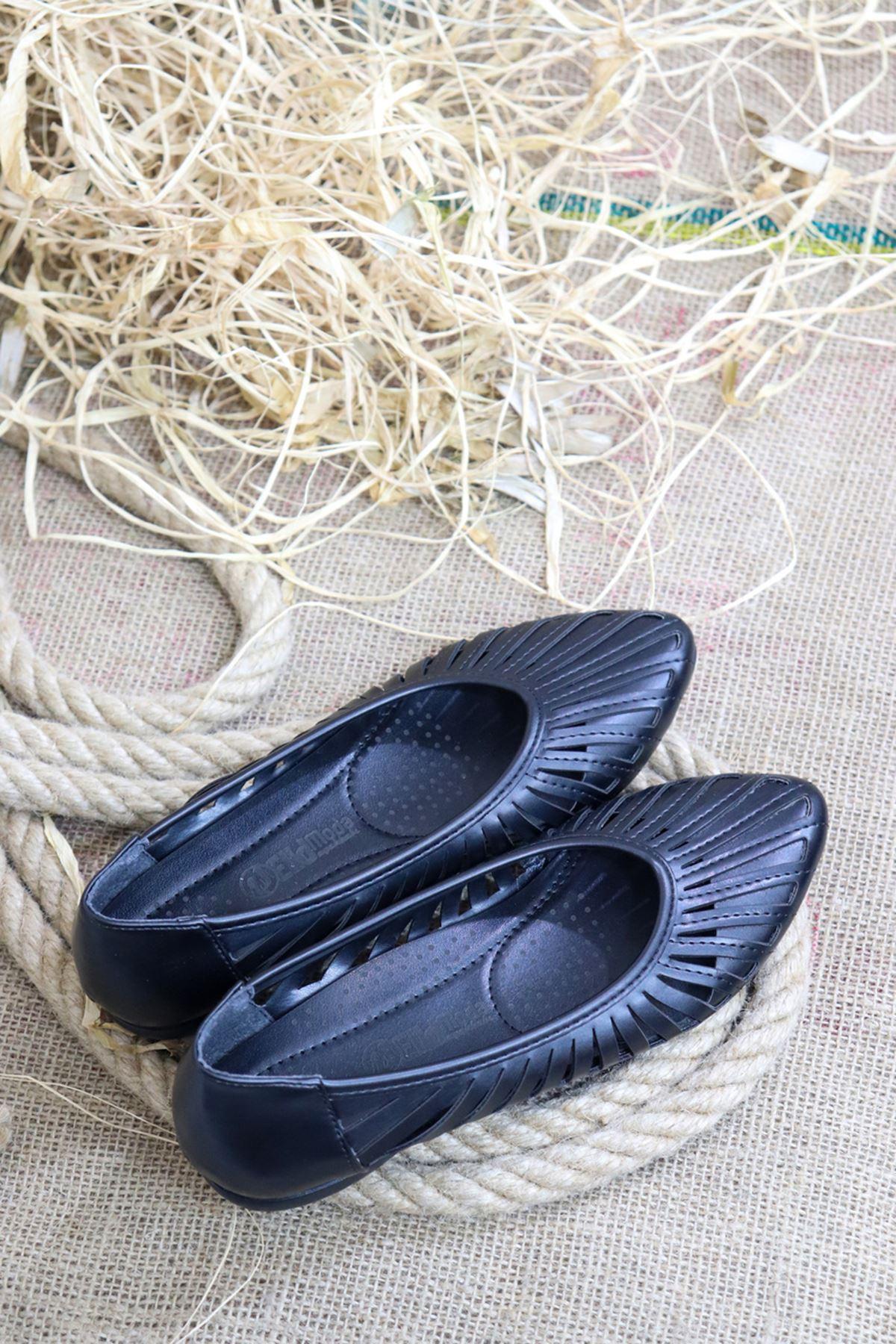 Trendayakkabı - Siyah Kadın Babeti