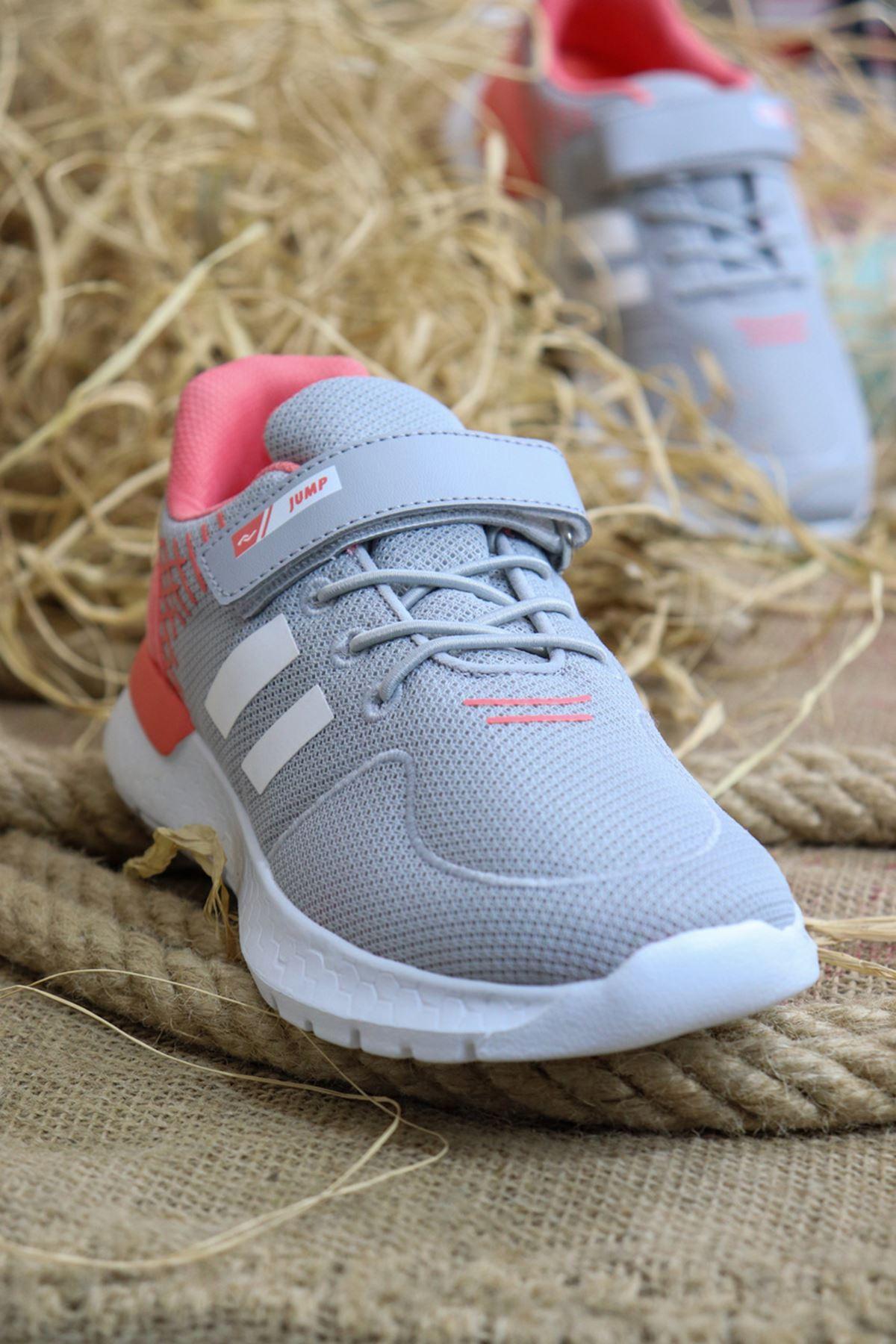 Jump - 26091 Gri-Turunucu Çocuk Spor Ayakkabısı