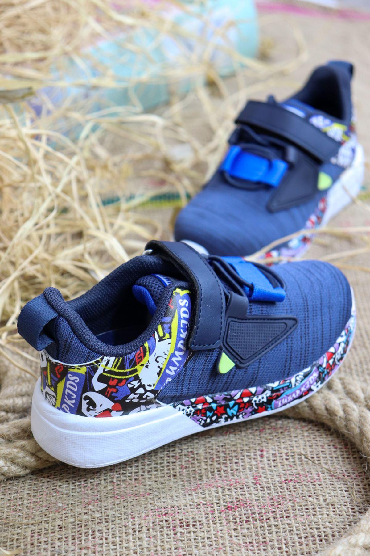 Jump - 26092 Mavi Desenli Çocuk Spor Ayakkabısı