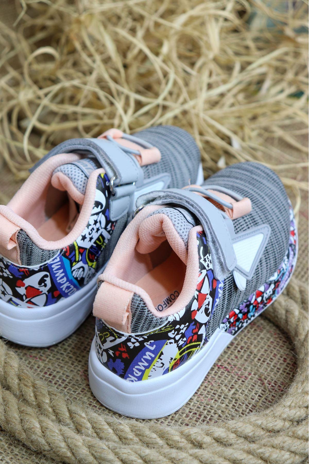 Jump - 26092 Gri Somon Desenli Çocuk Spor Ayakkabısı