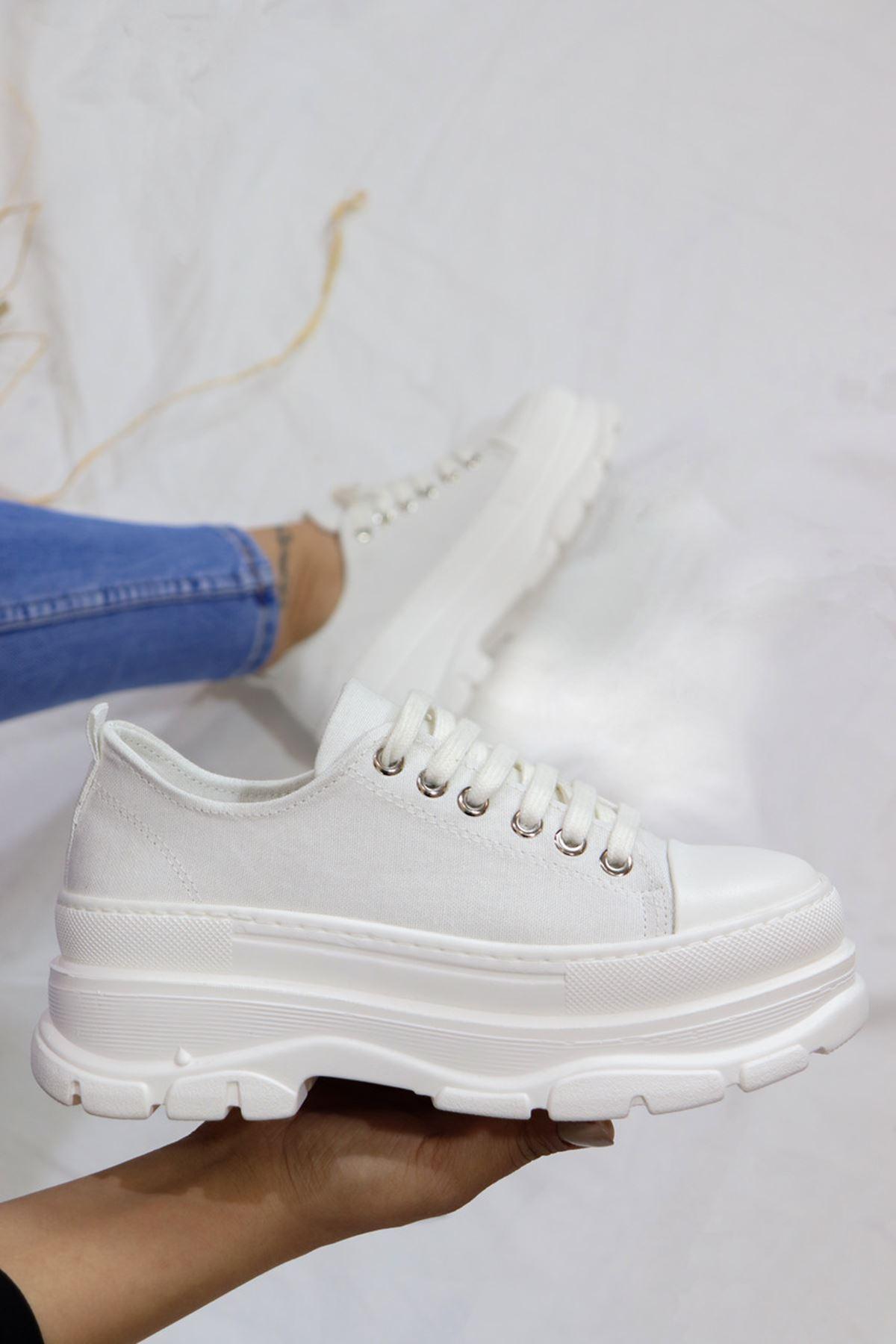 Trendayakkabı - Beyaz Yüksek Topuk Convers