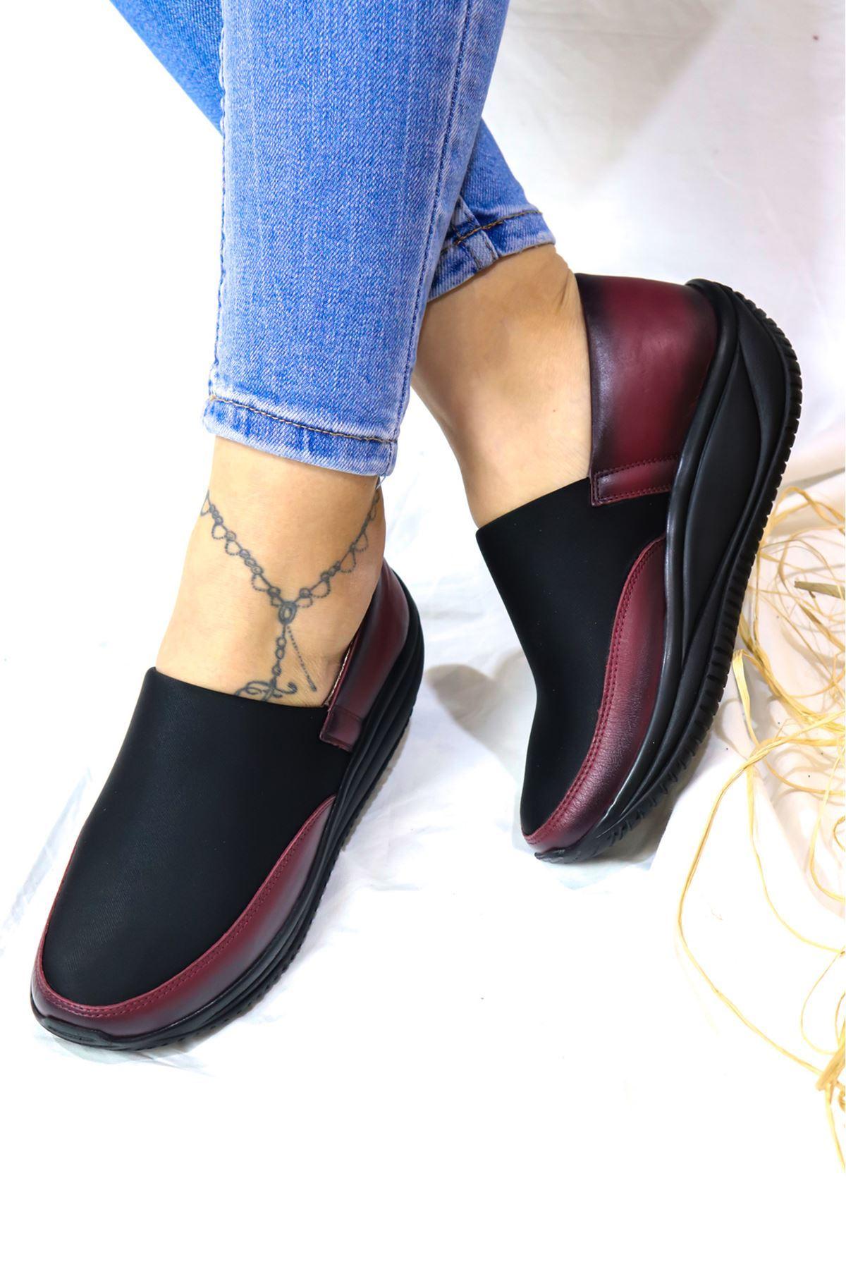 Capella - Siyah Bordo  Dolgu Deri Kadın Ayakkabı