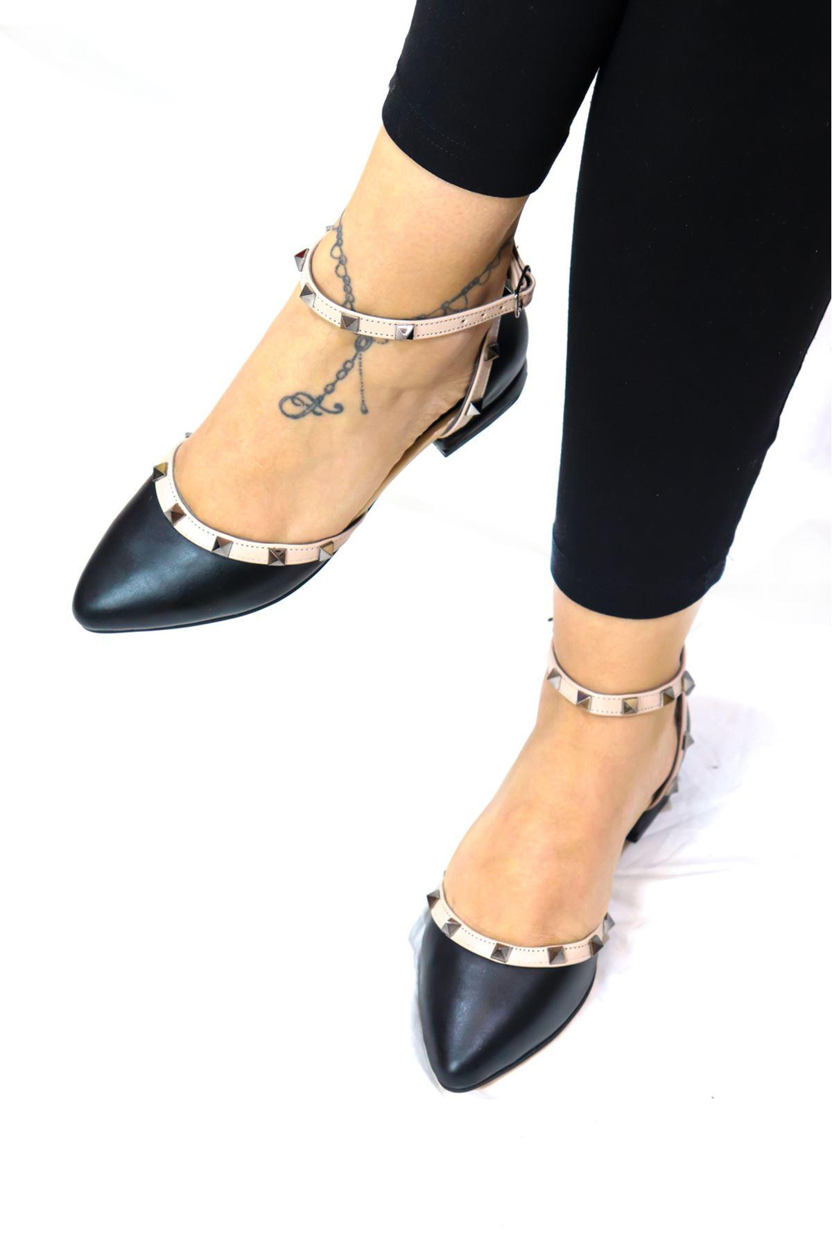 Trendayakkabı - Siyah Kadın Babet