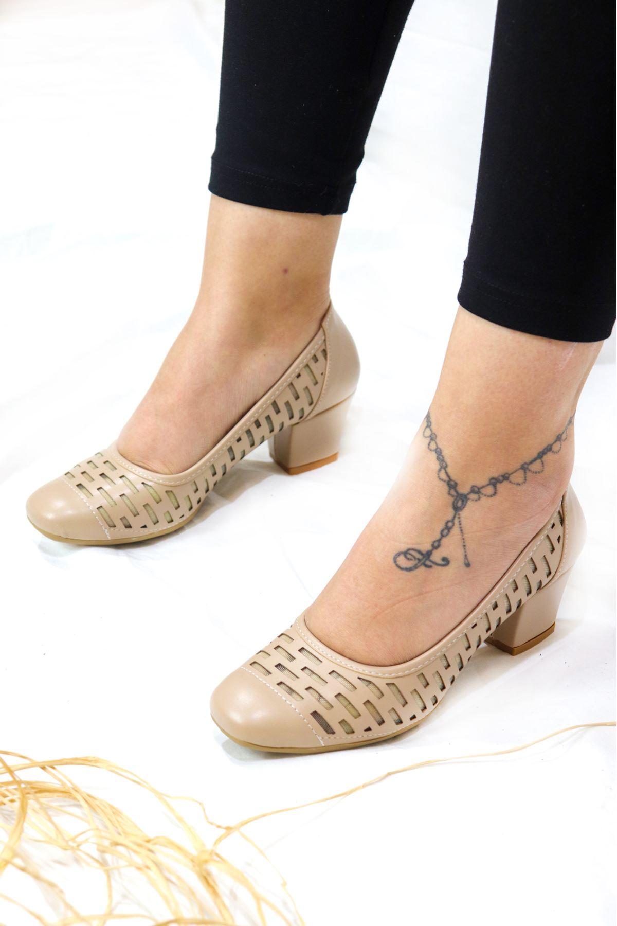 Trendayakkabı - Bej Kadın Topuklu Ayakkabı