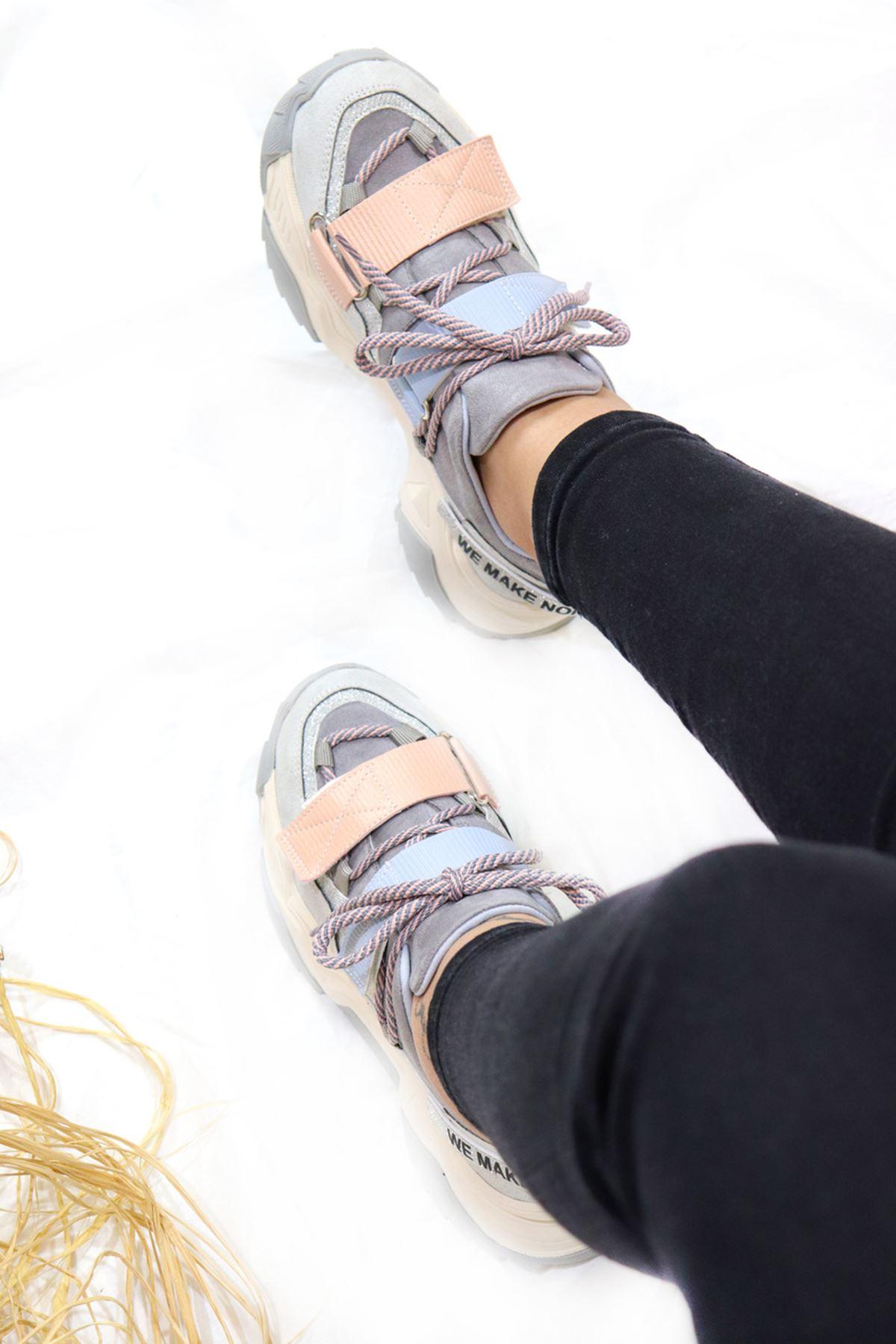 Trendayakkabı - Bej Kadın Spor Ayakkabı