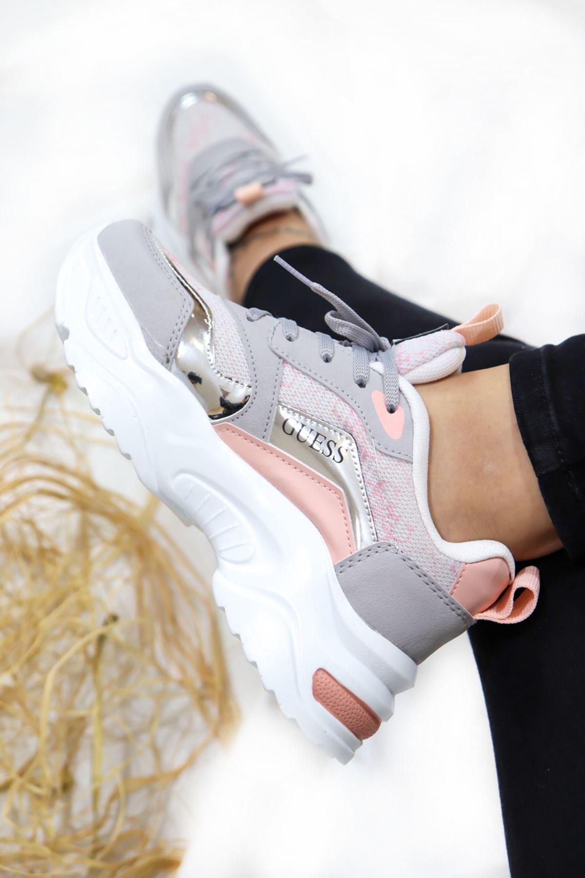 Trendayakkabı - Pudra Kadın Spor Ayakkabısı