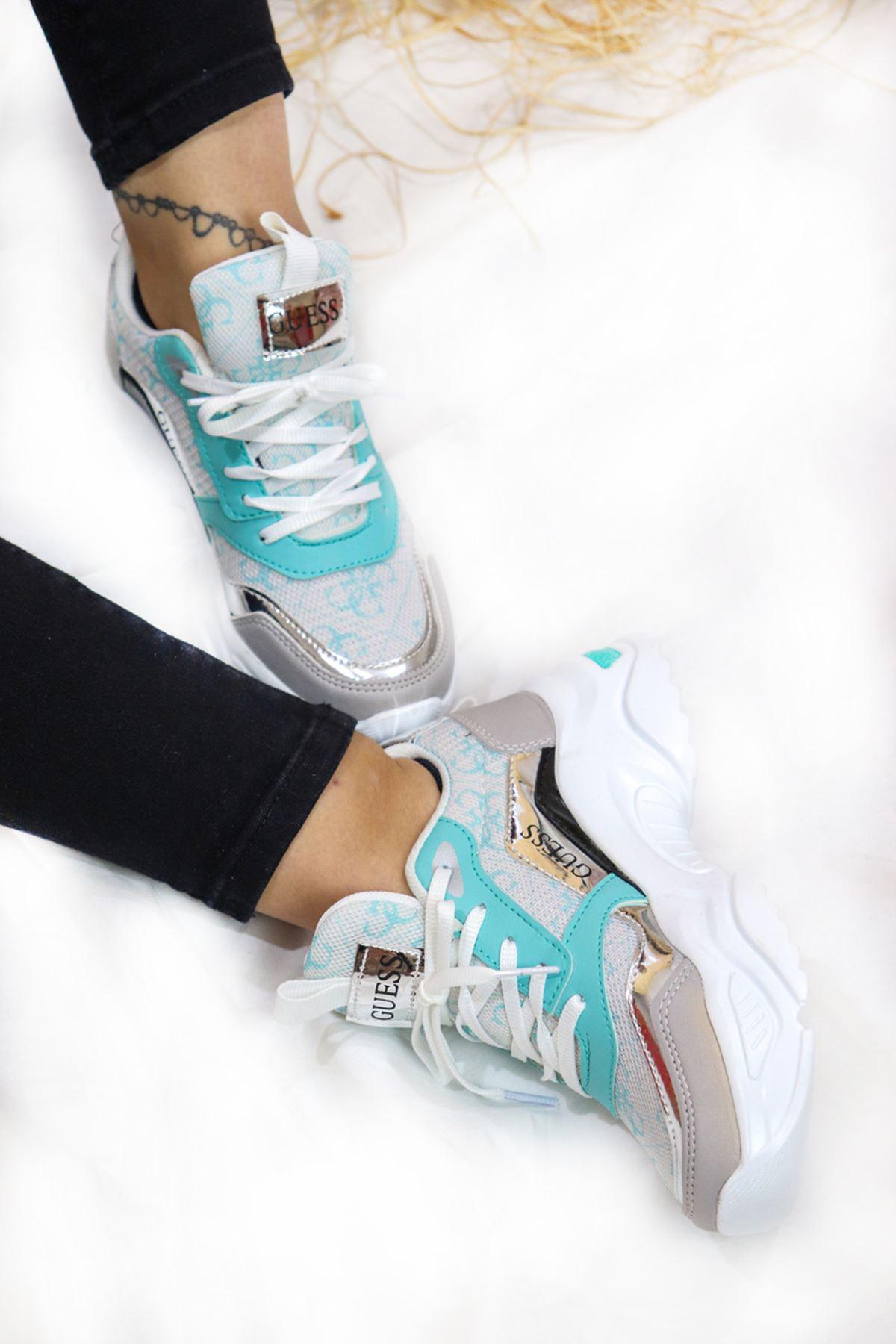 Trendayakkabi - Su Yeşili Kadın Spor Ayakkabı