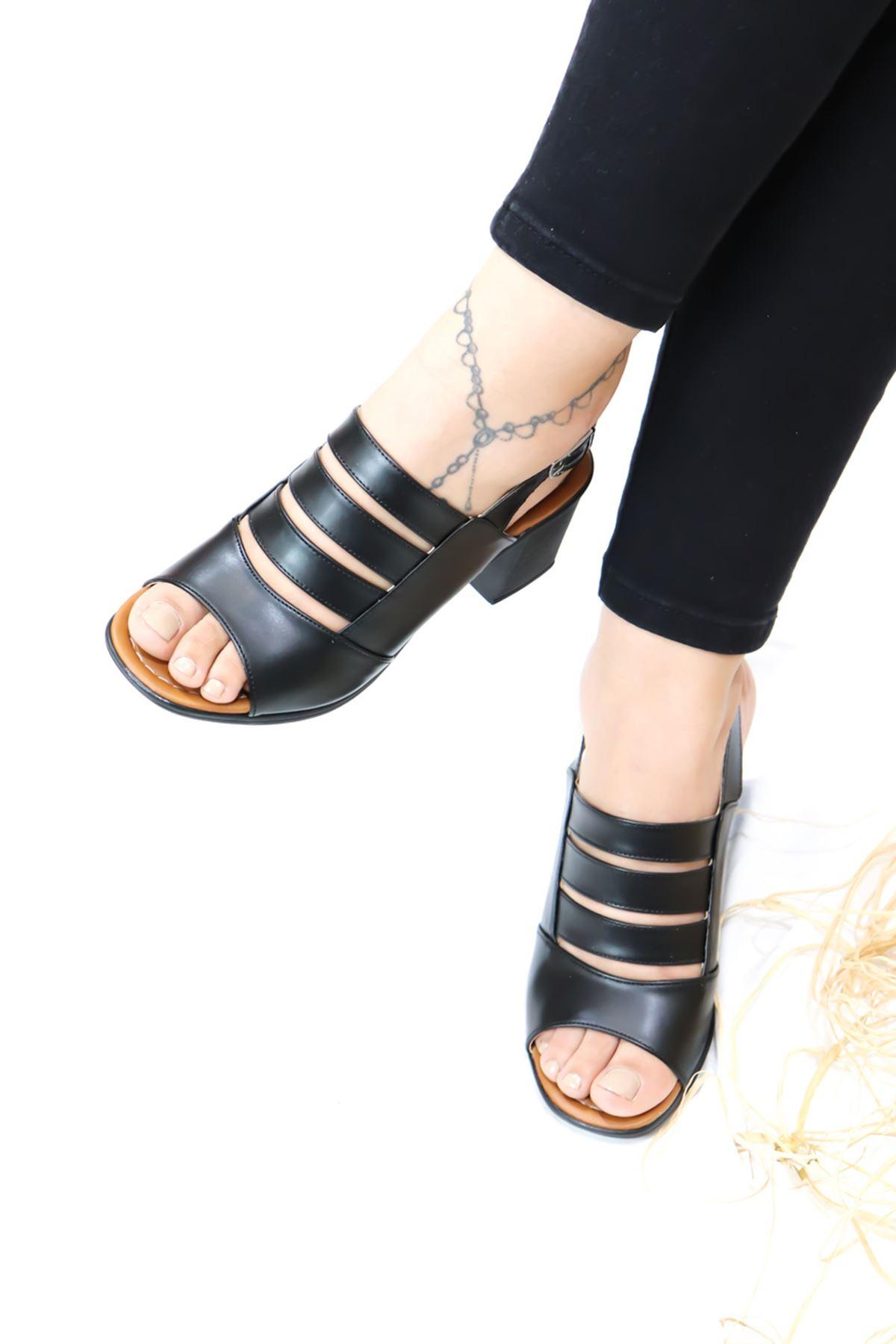 Feles - Kafes Tasarım Kadın Topuklu Ayakkabı Siyah