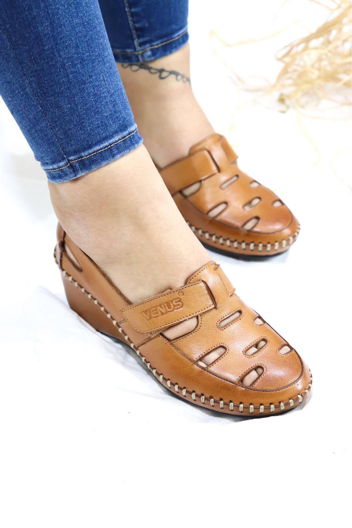 Venüs - 21793073 Taba Kadın Dolgu Topuklu Sandalet