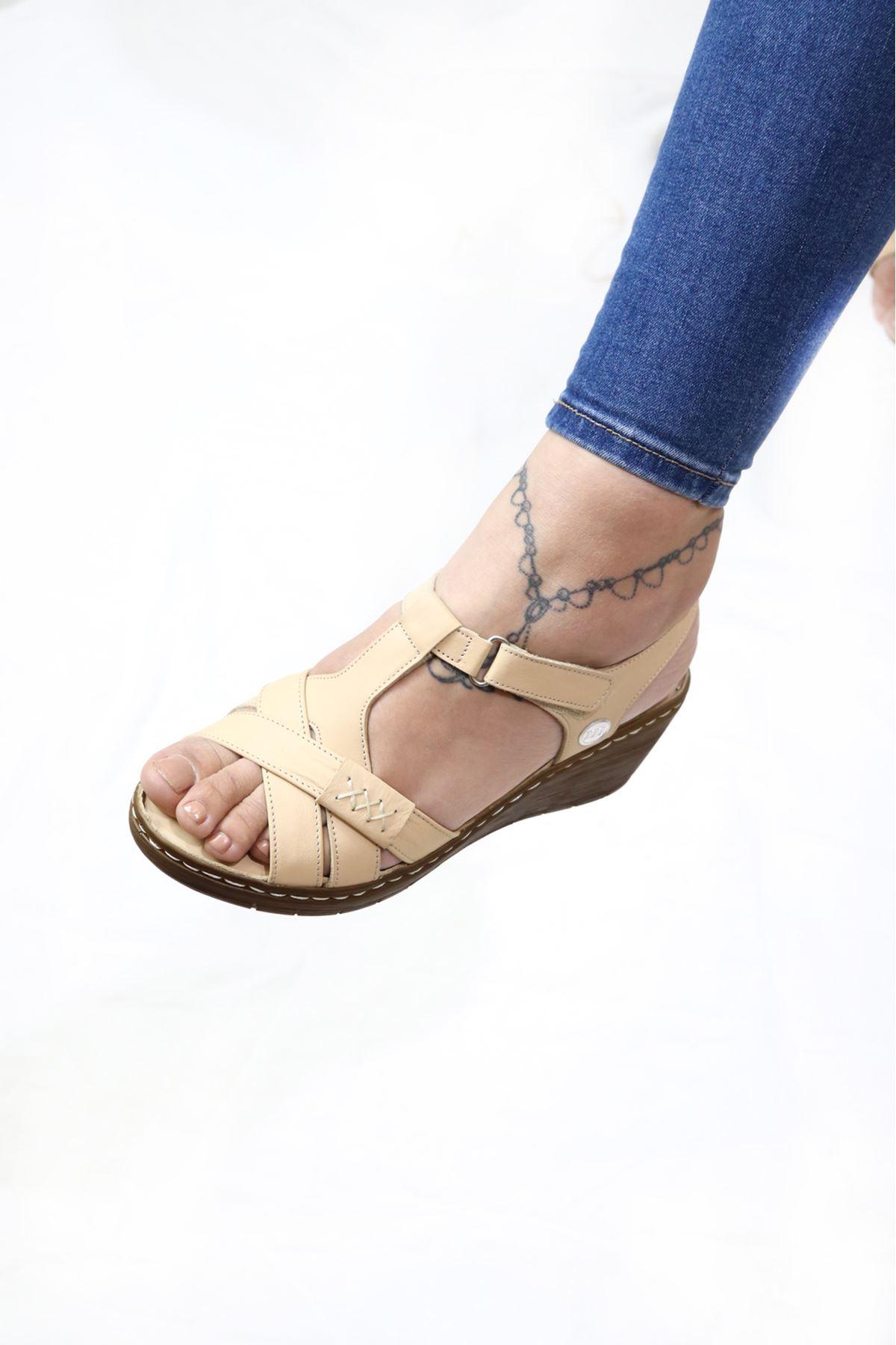 Mammamia - D21YS - 1300-B Bej Sandalet