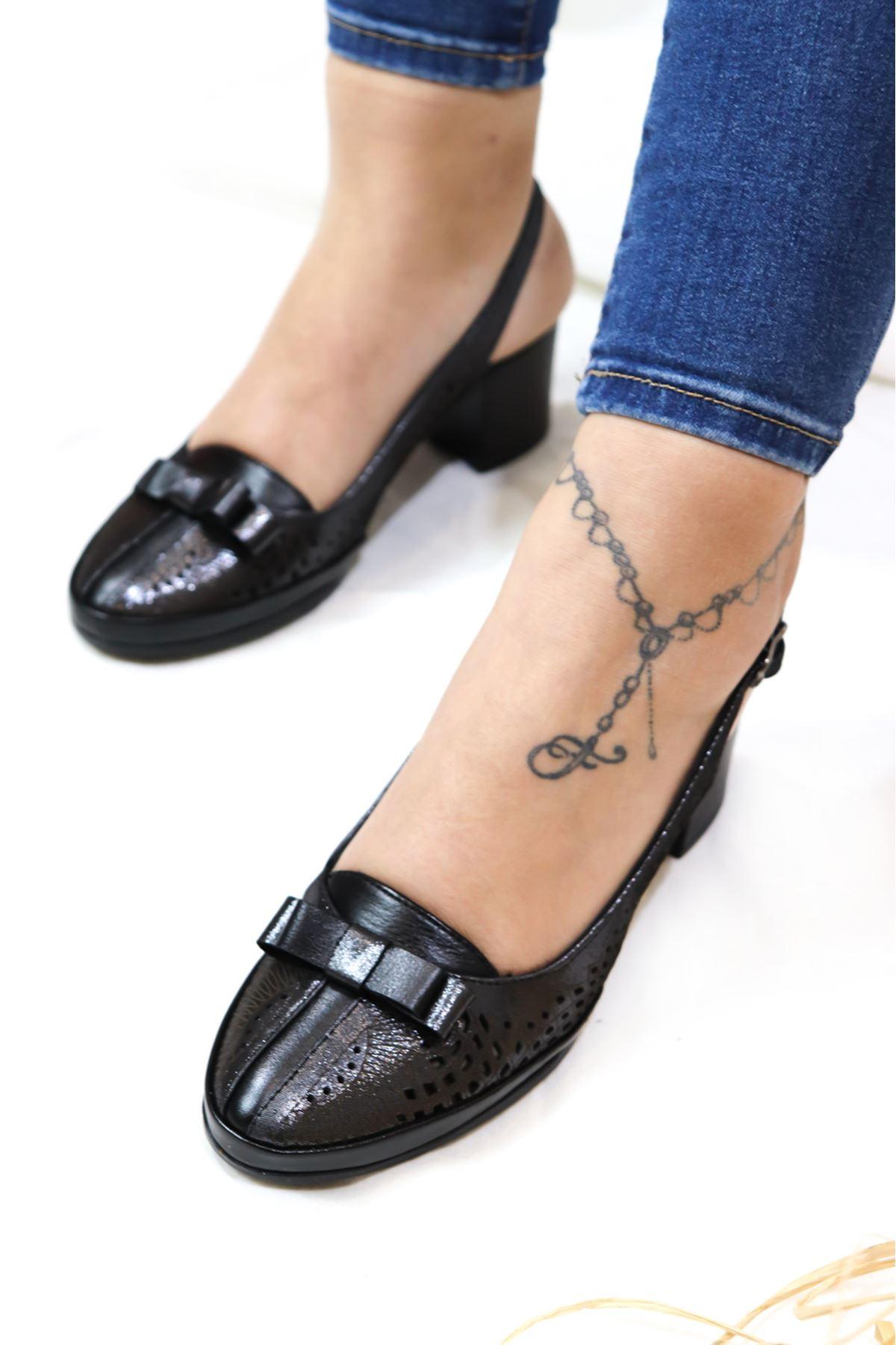 Venüs - 1323 Siyah Platin Arkadan Bantlı Ayakkabı