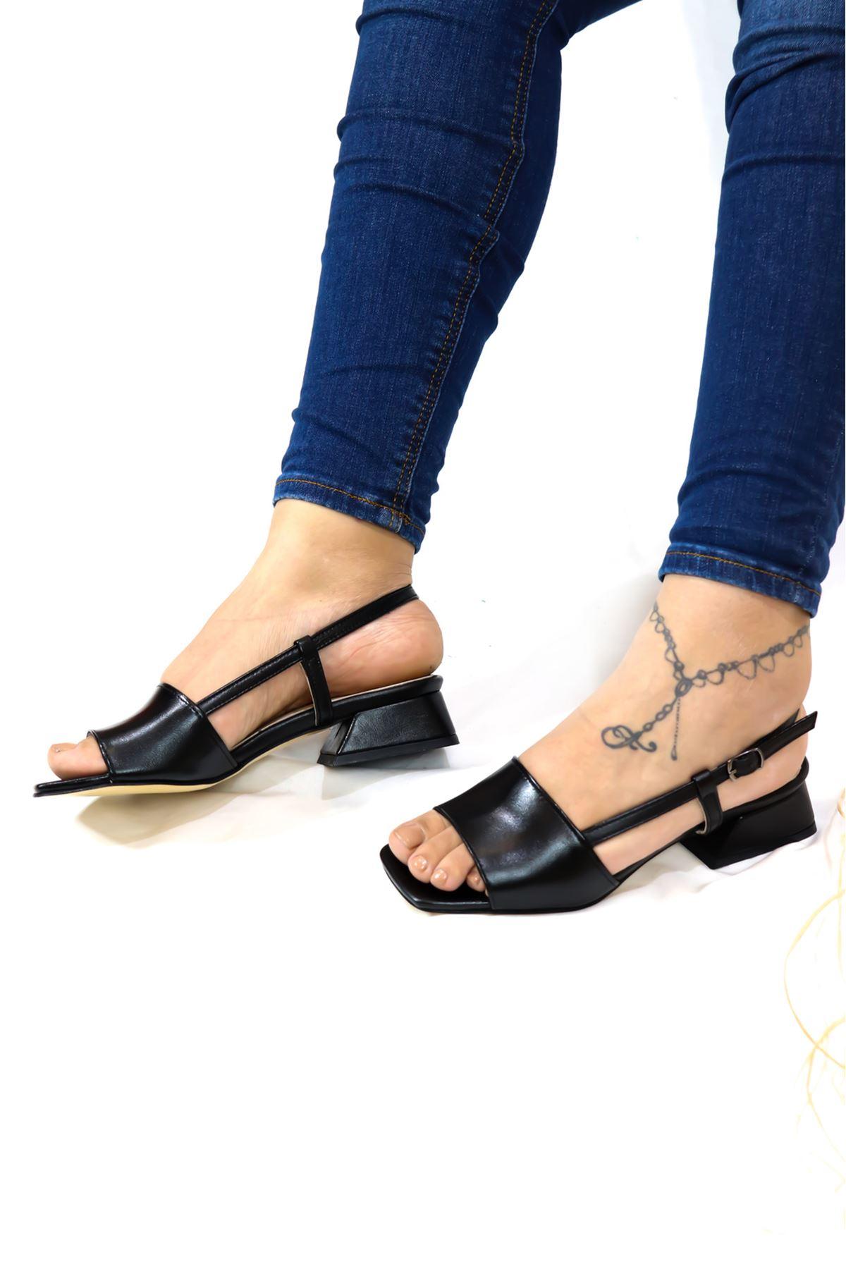 Trendayakkabı - Siyah Hakiki Deri Sandalet