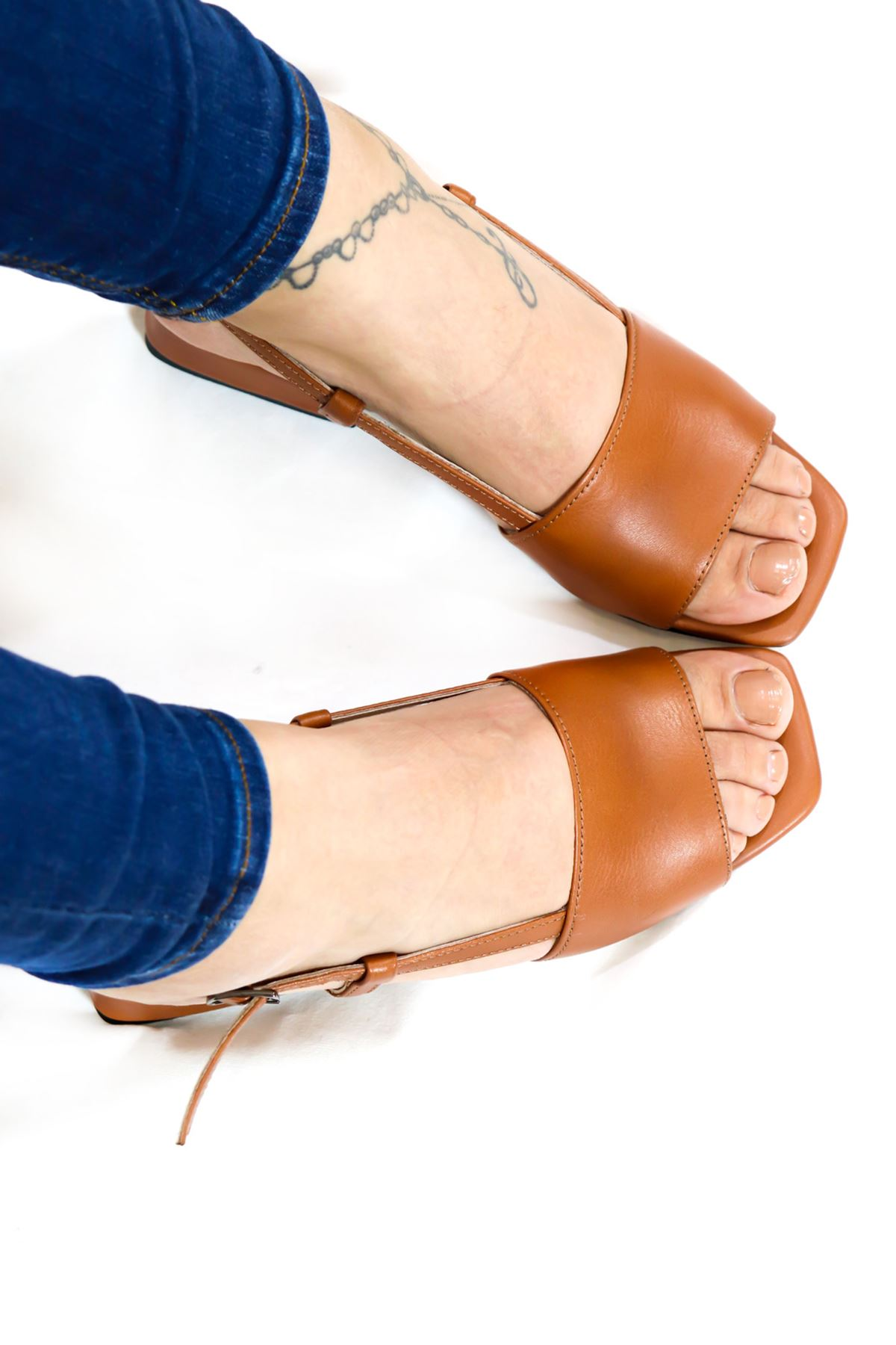 Trendayakkabı - Taba Hakiki Deri Sandalet
