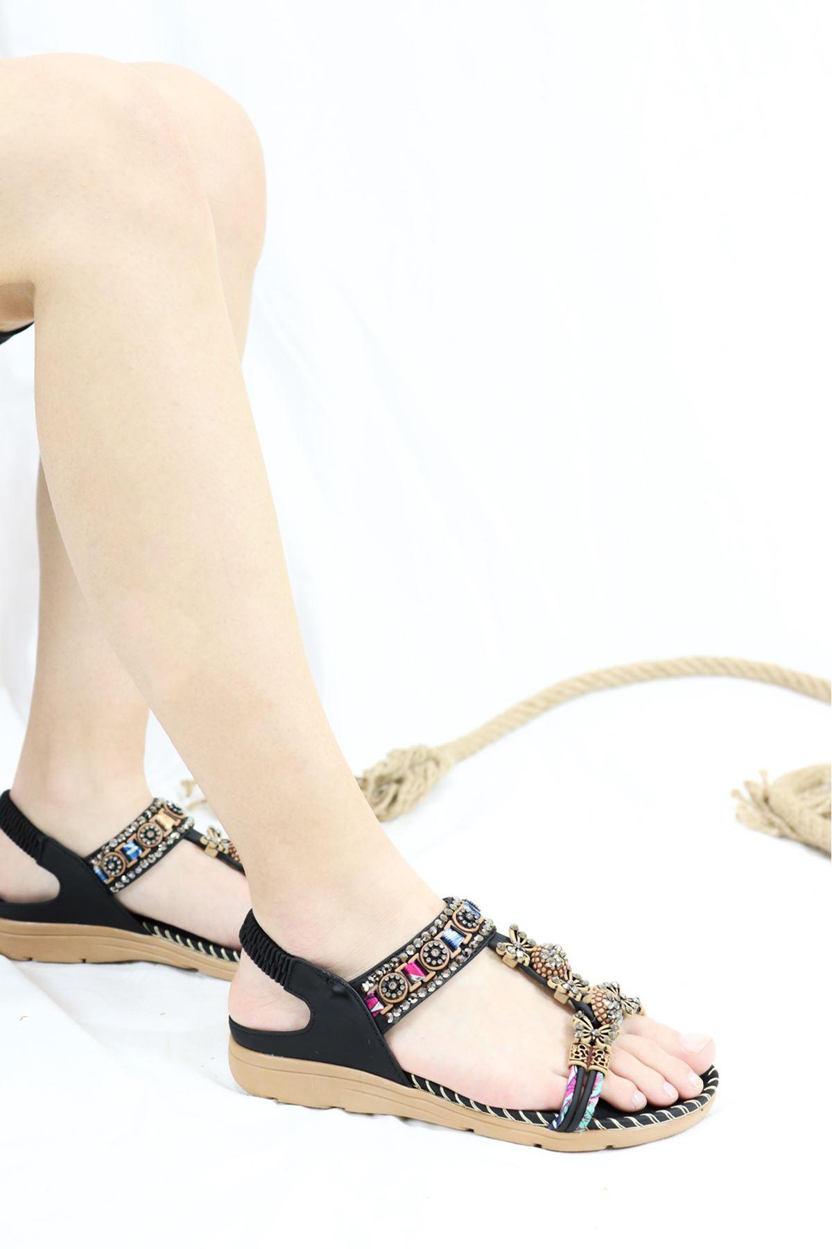 Guja - 21Y250-03 Siyah Kadın Sandalet