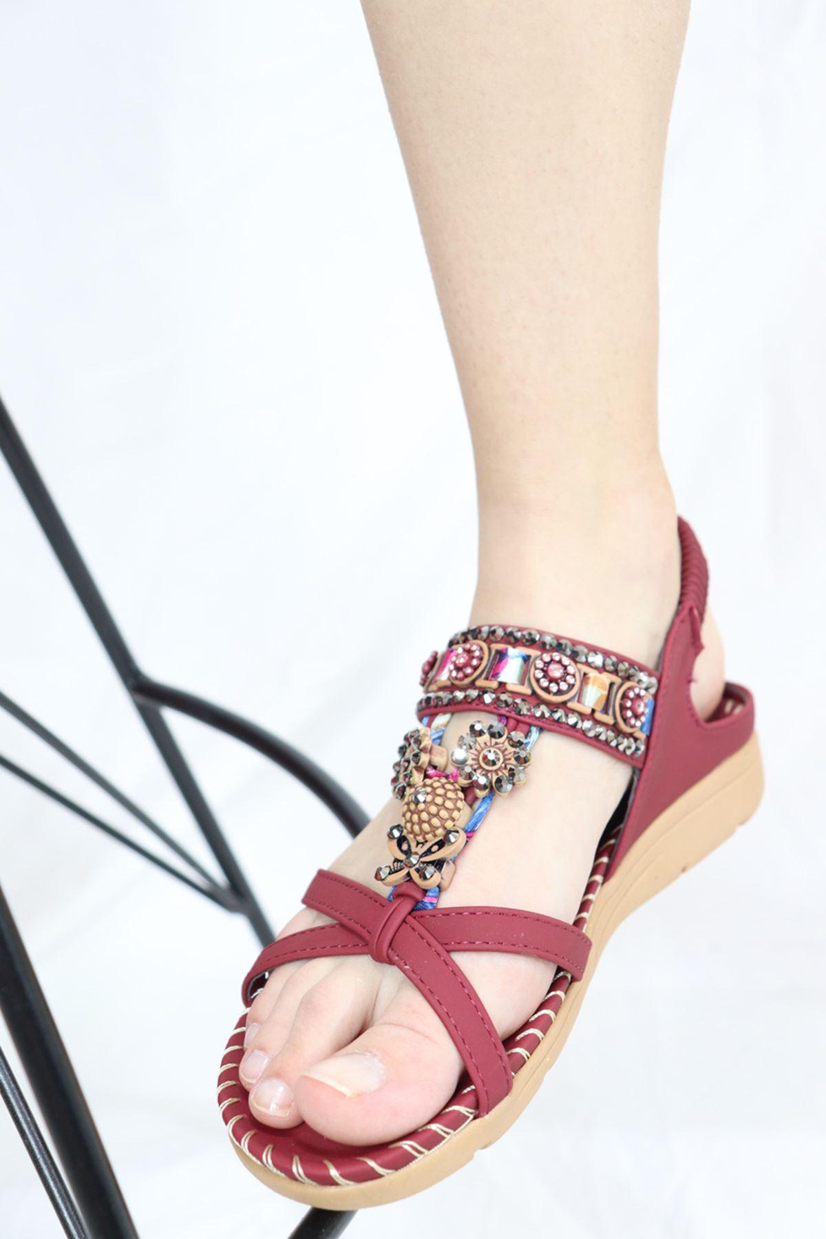 Guja - 21Y150-4 Bordo Kadın Sandalet