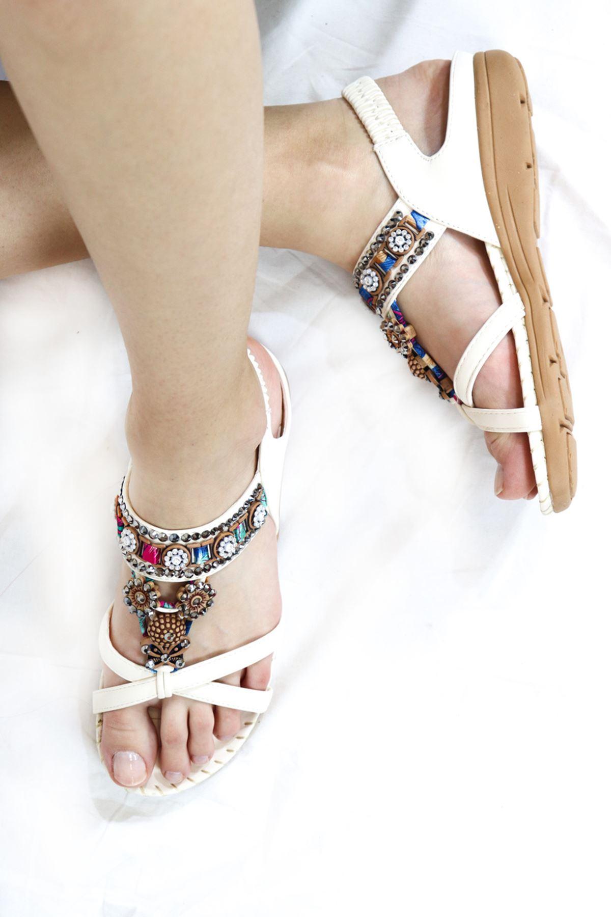 Guja - 21Y150-4 Beyaz Kadın Sandalet