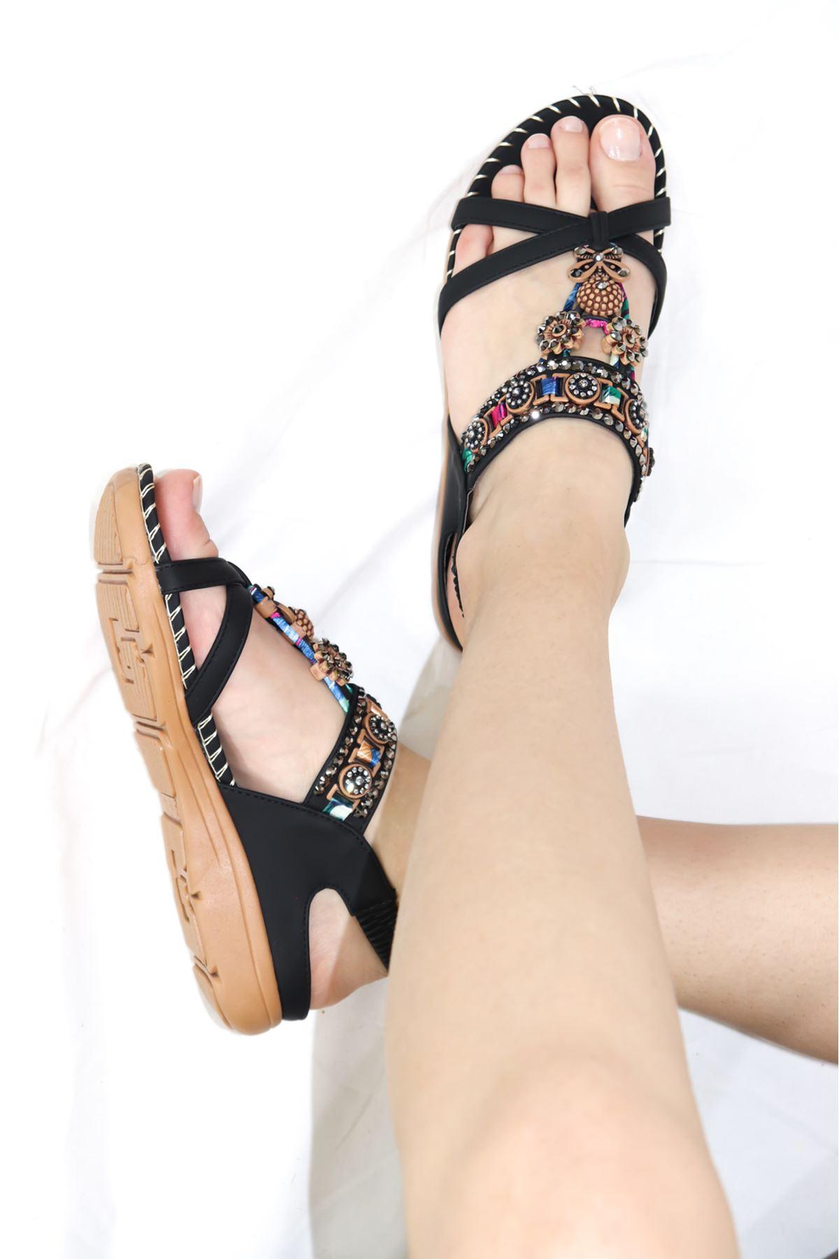 Guja - 21Y150-4 Siyah Kadın Sandalet