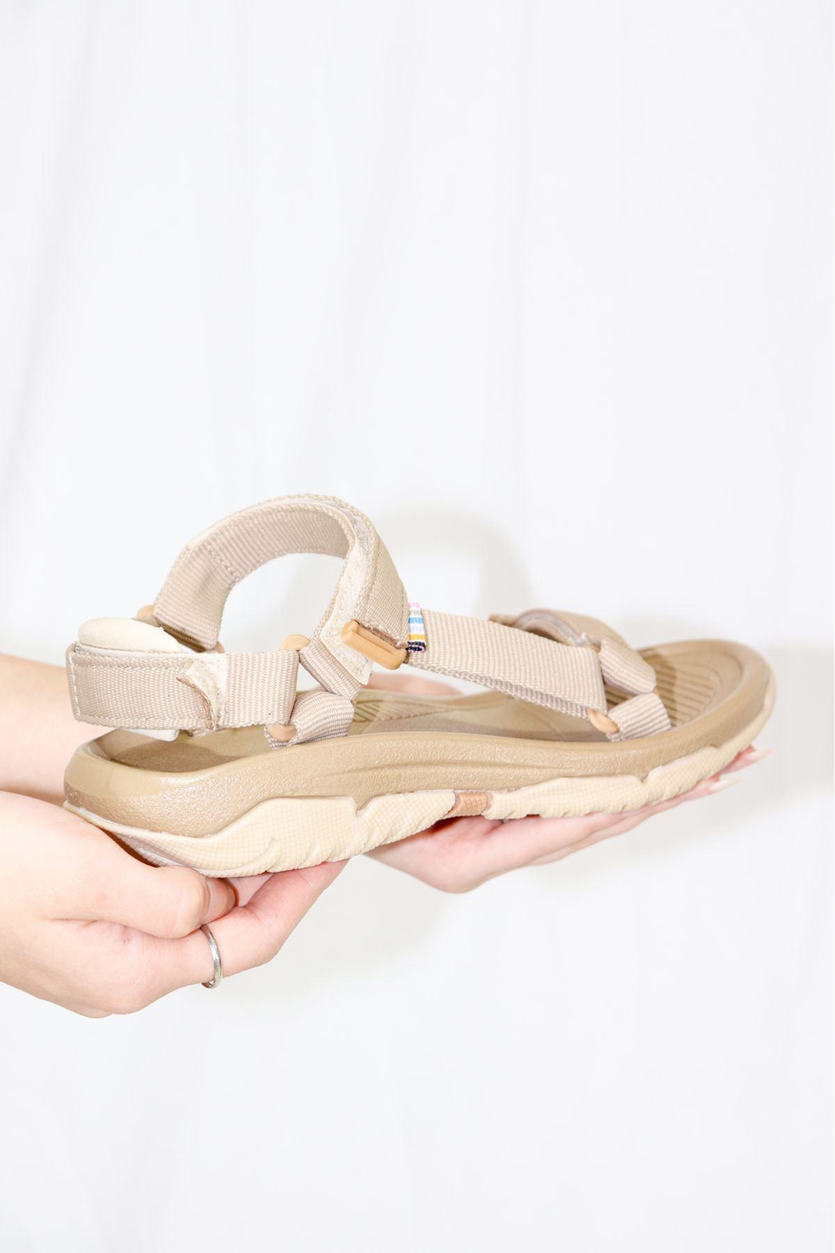 Trendayakkabı -Bej Kadın Sandalet